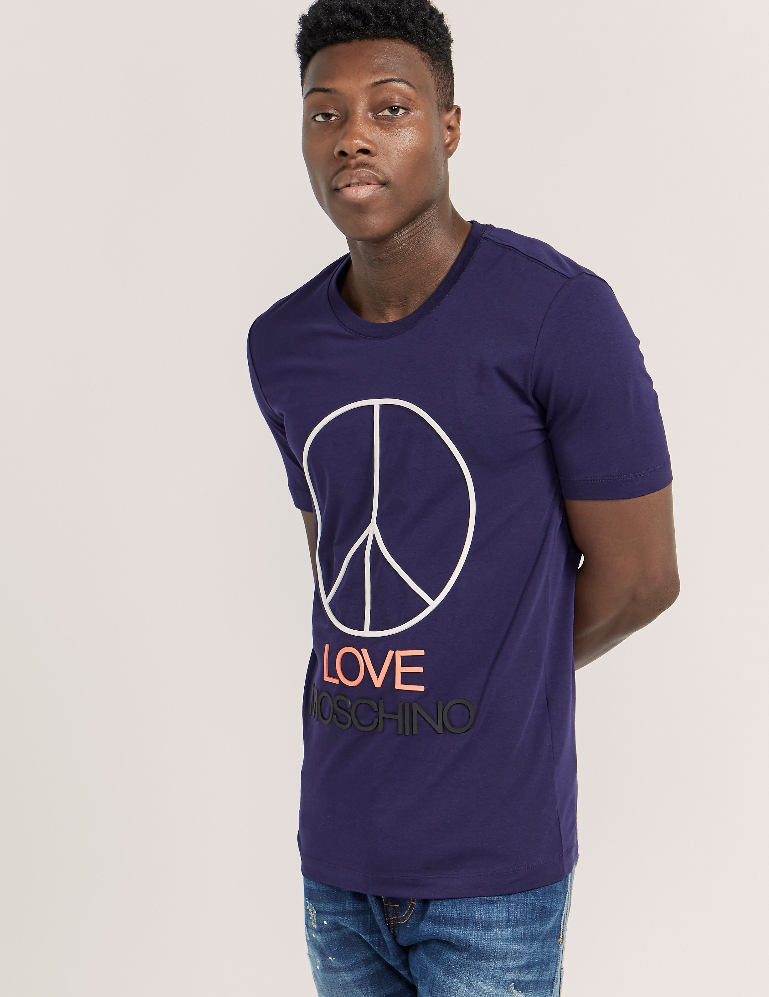 Love Moschino Large Peace Logo Short Sleeve T-Shirt