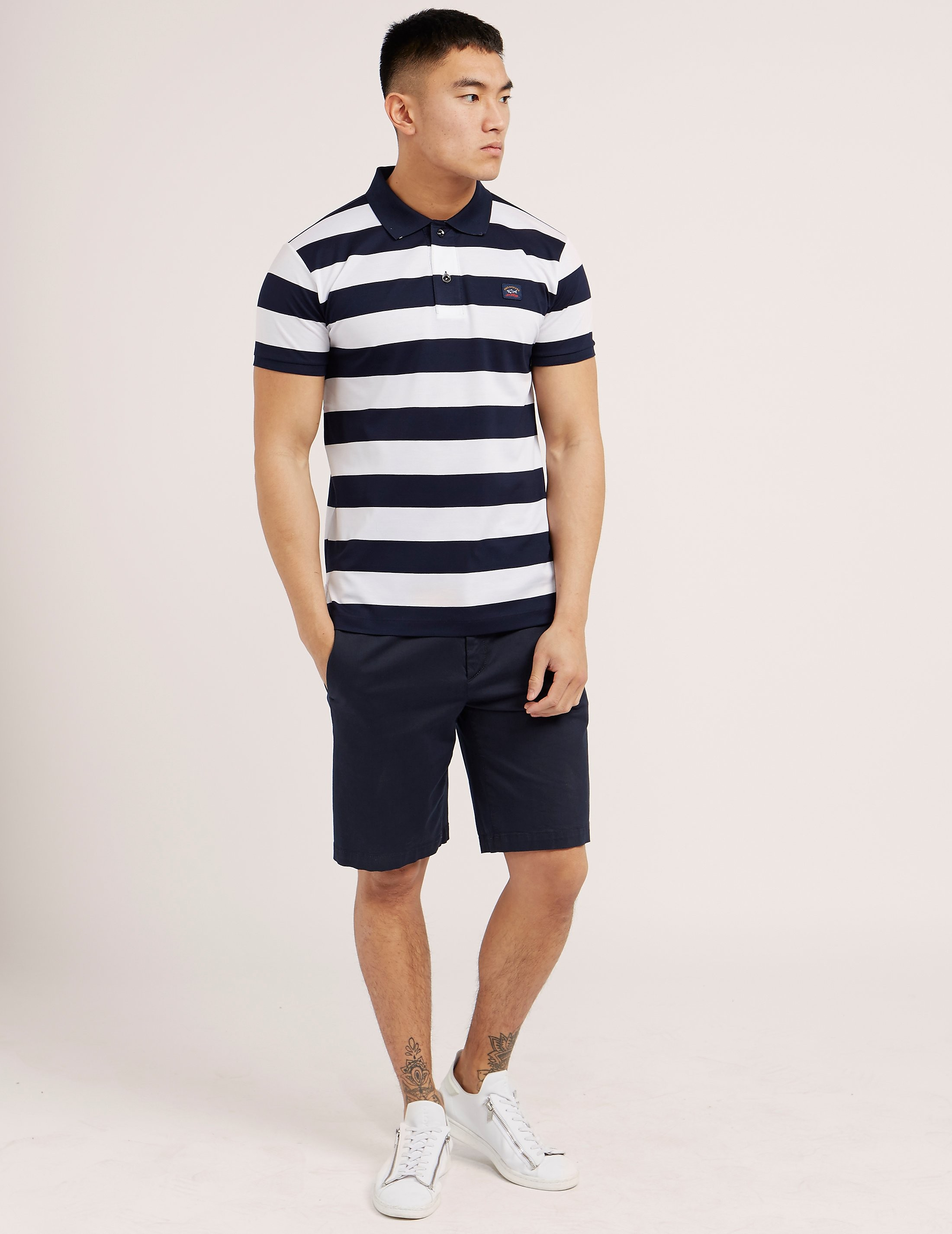 Paul and Shark Black Stripe Short Sleeve Polo Shirt