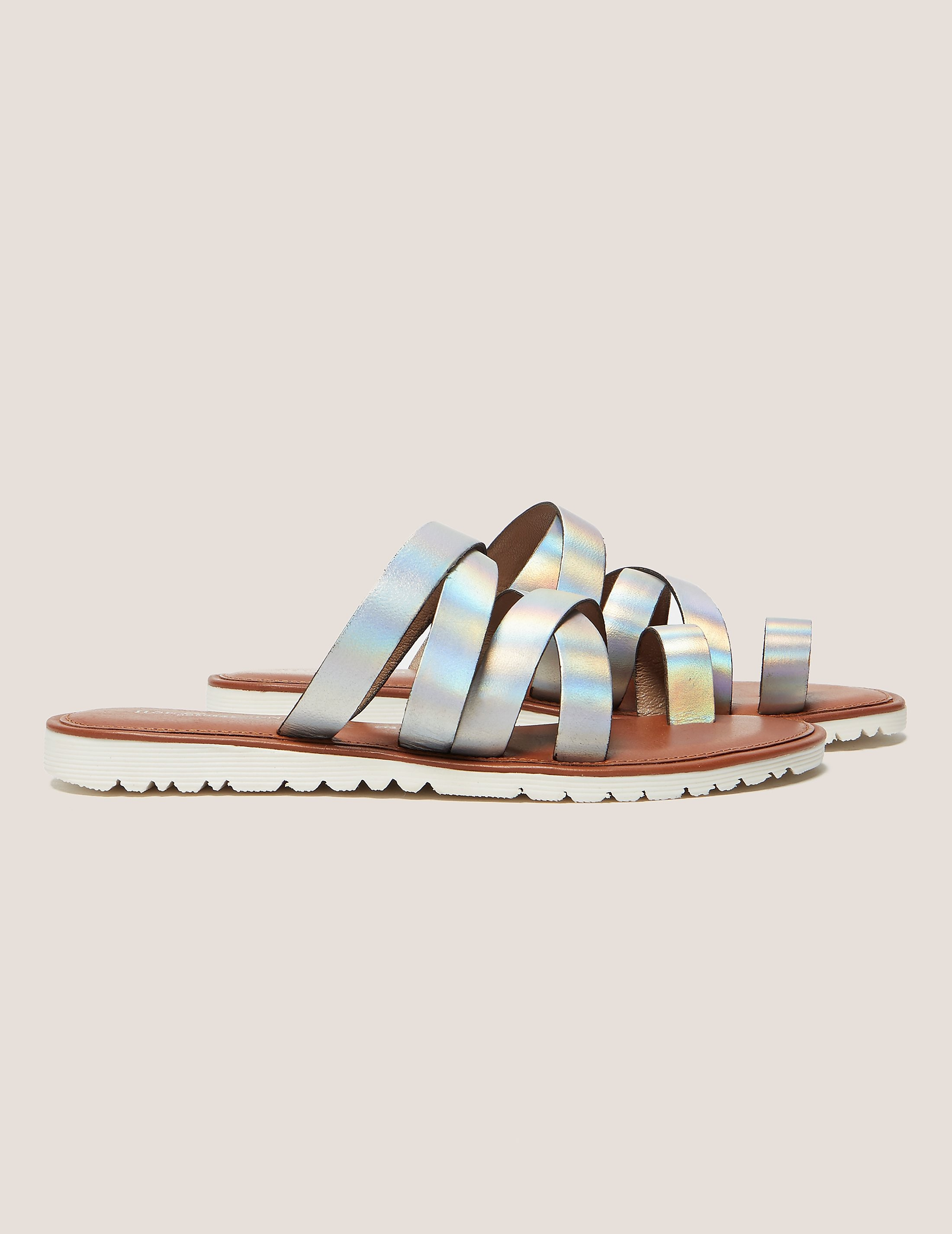 Ilse Jacobsen Hologram Metallic Strap Sandals