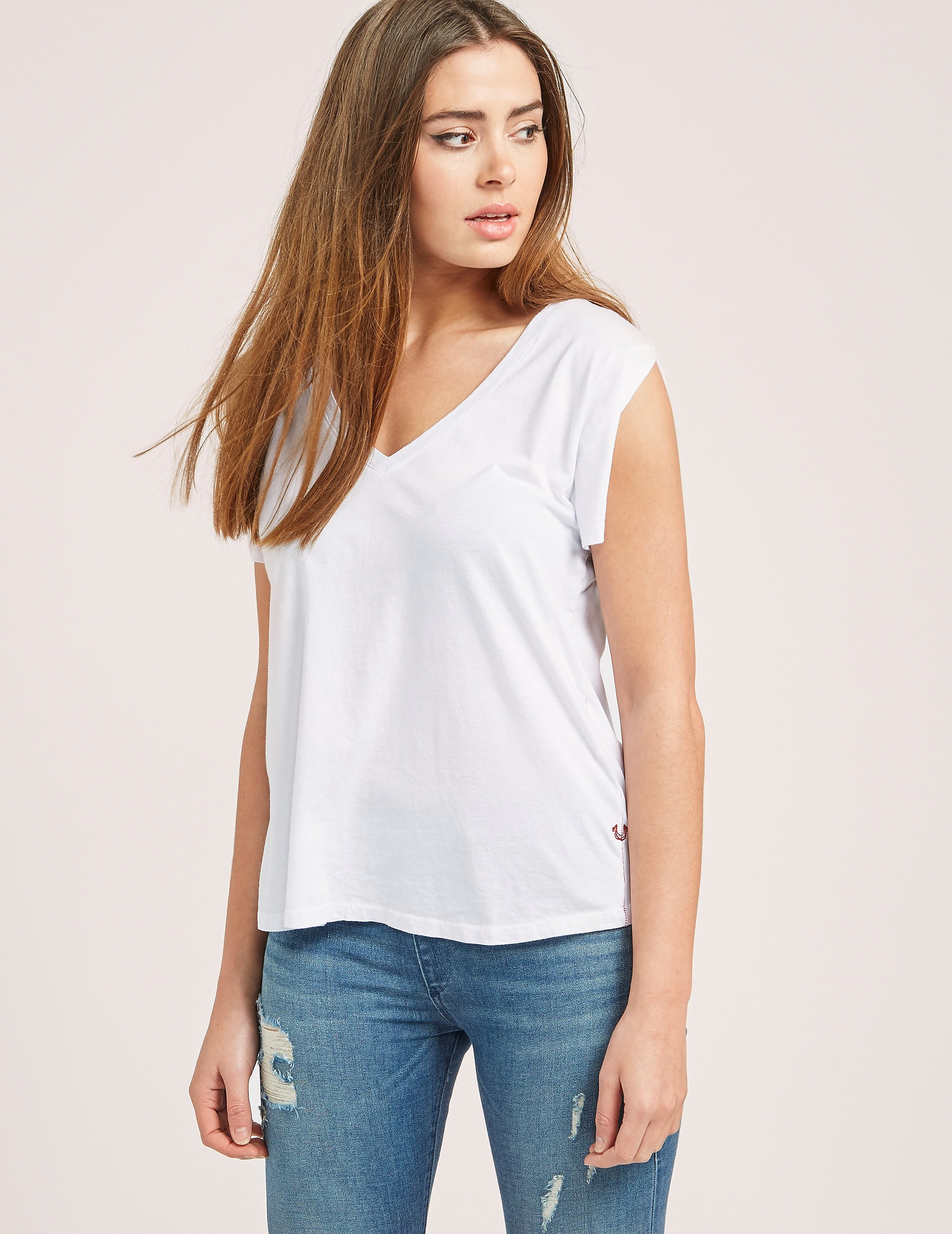 True Religion Low V-Neck T-Shirt