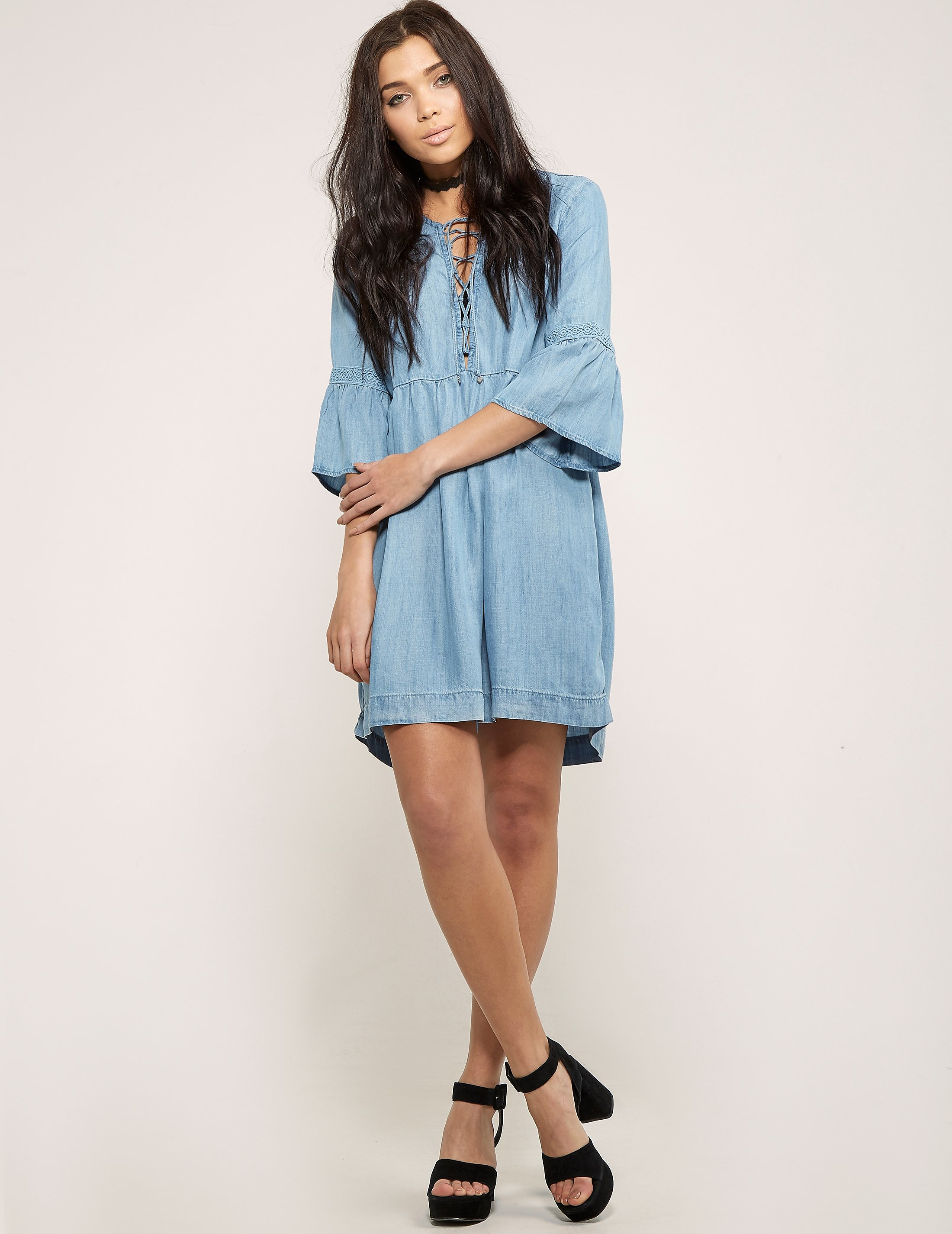 Juicy Couture Chambray Lace Up Dress