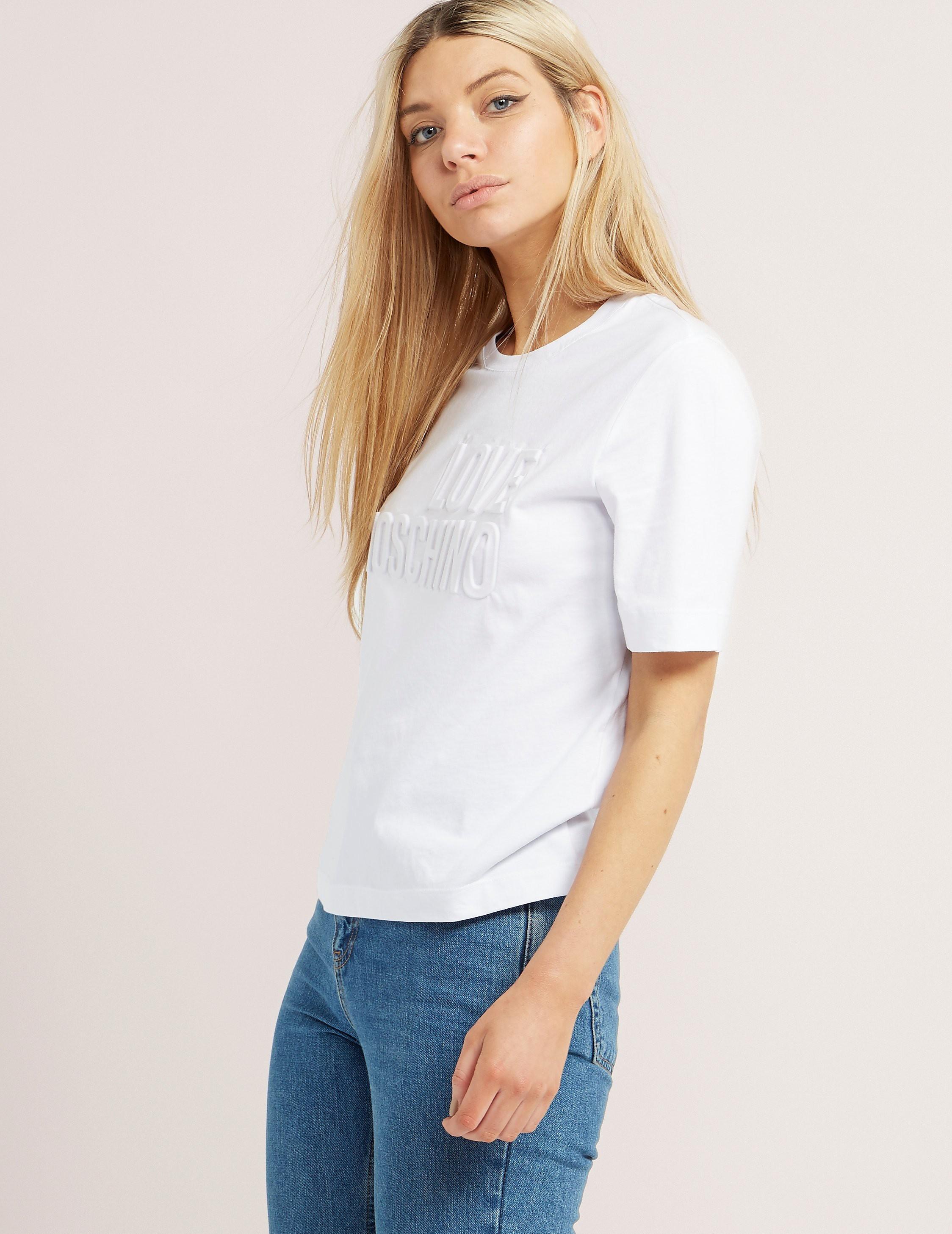Love Moschino Embossed Logo Short Sleeve T-Shirt