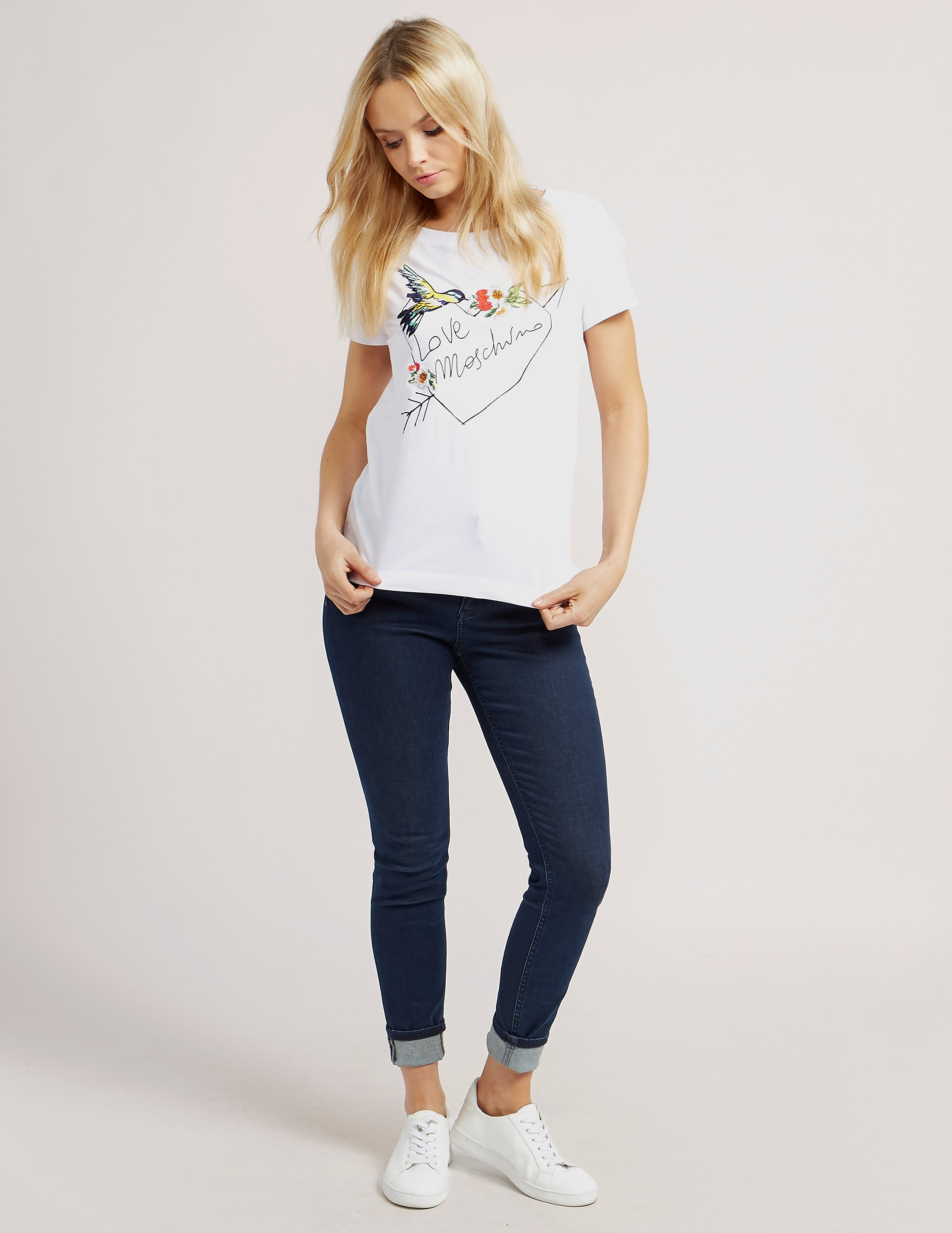 Love Moschino Embroidered Heart Short Sleeve T-Shirt