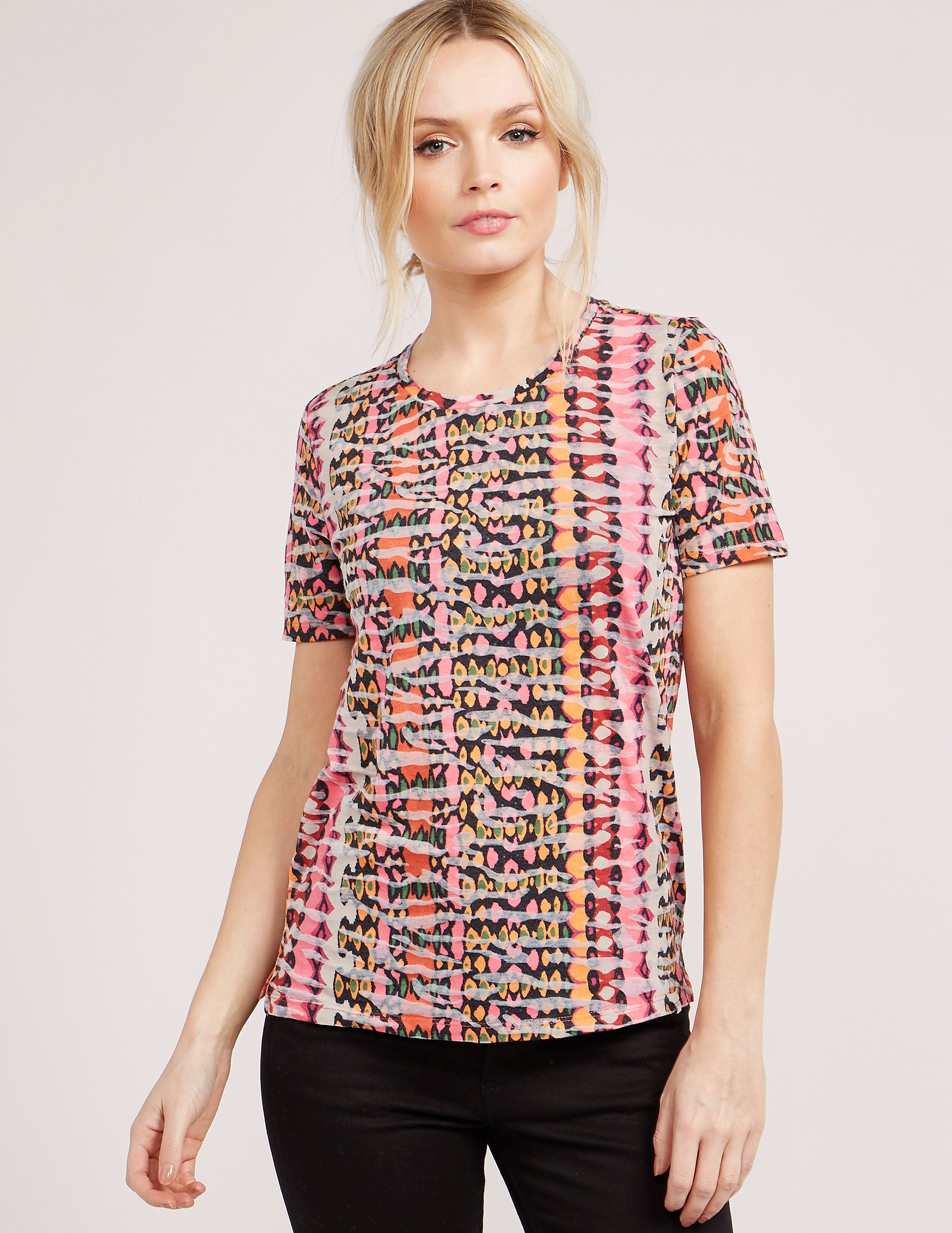 Maison Scotch Abstract Print Short Sleeve T-Shirt