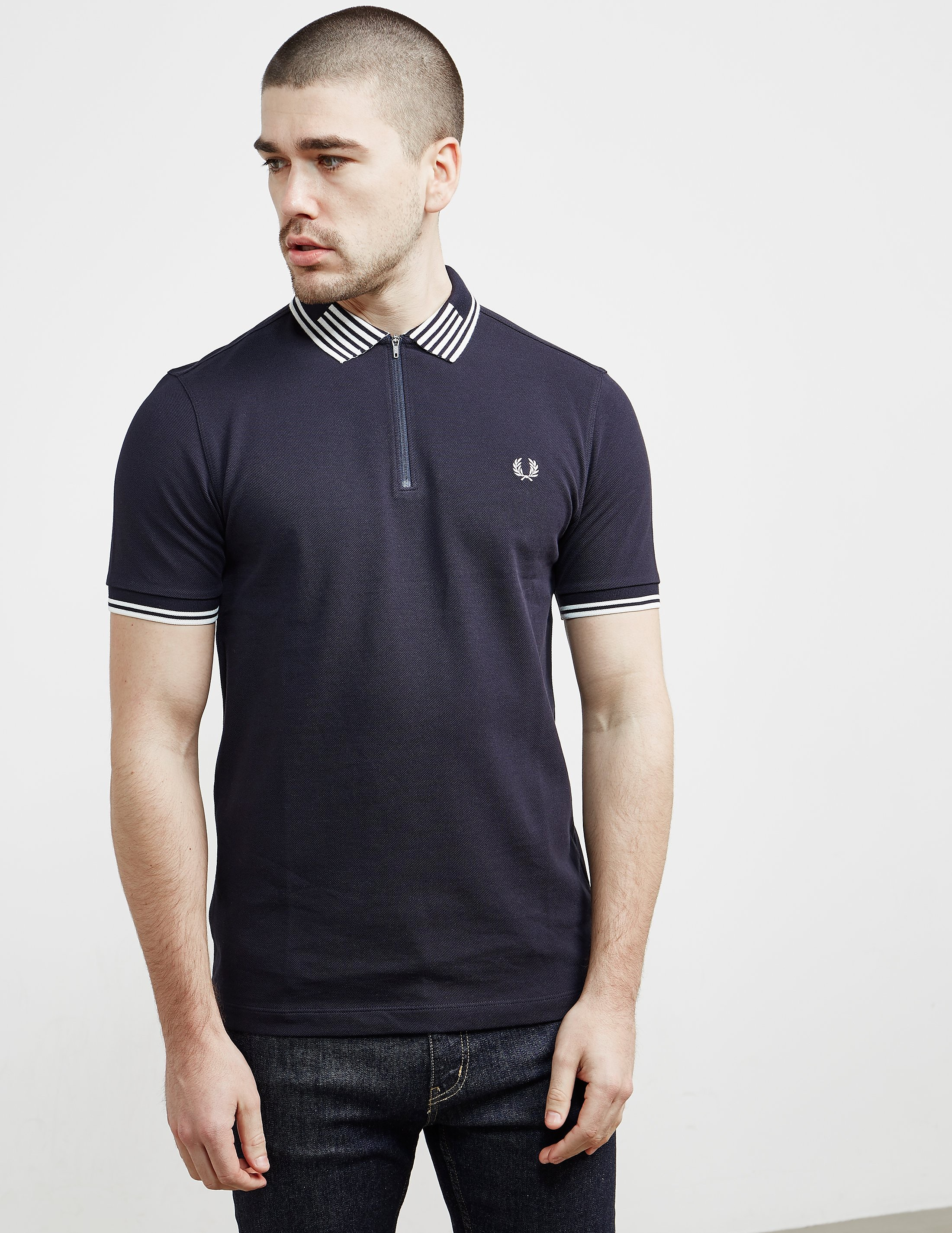 Fred Perry Striped Collar Pique Polo Shirt