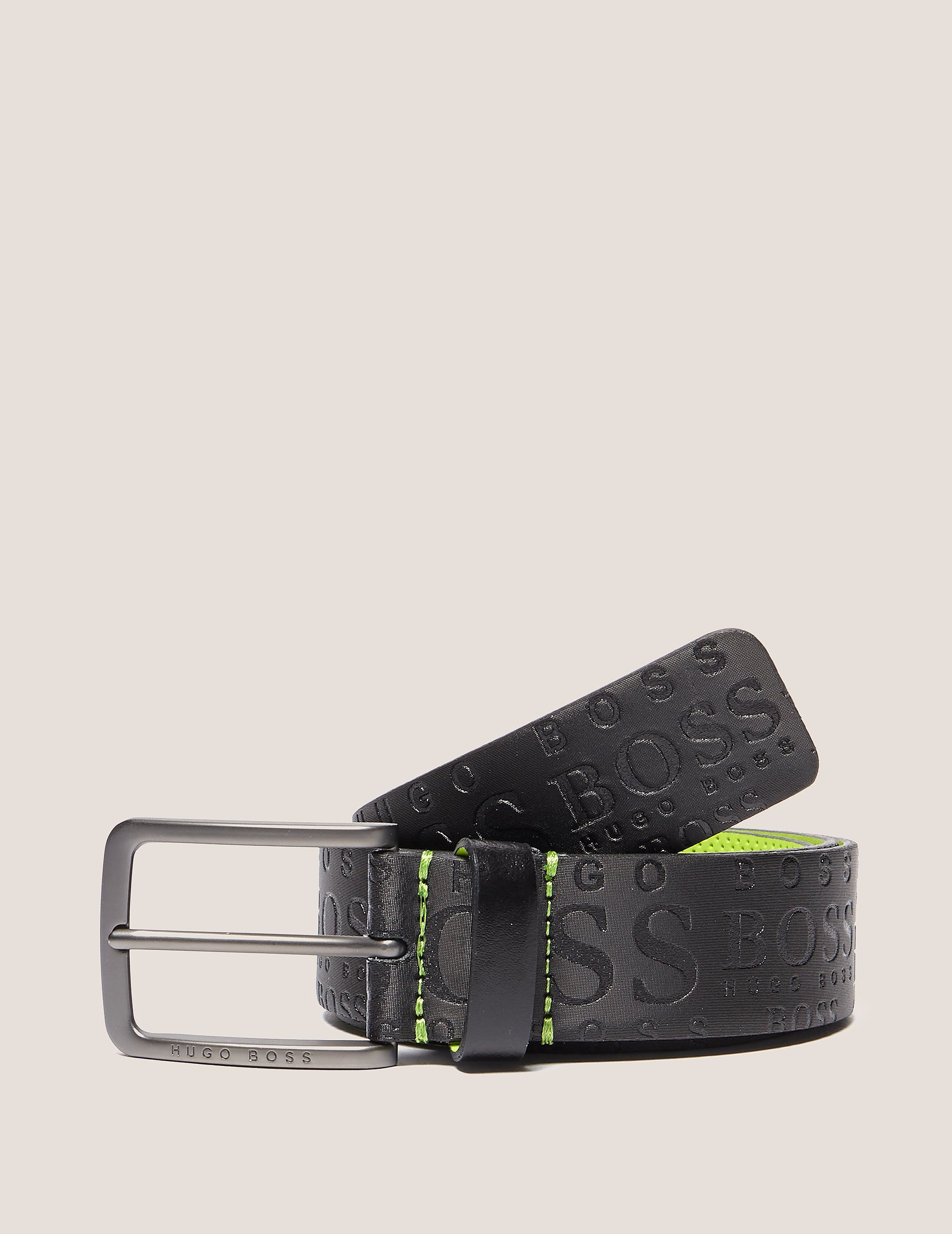 BOSS Green Embossed Leather Belt