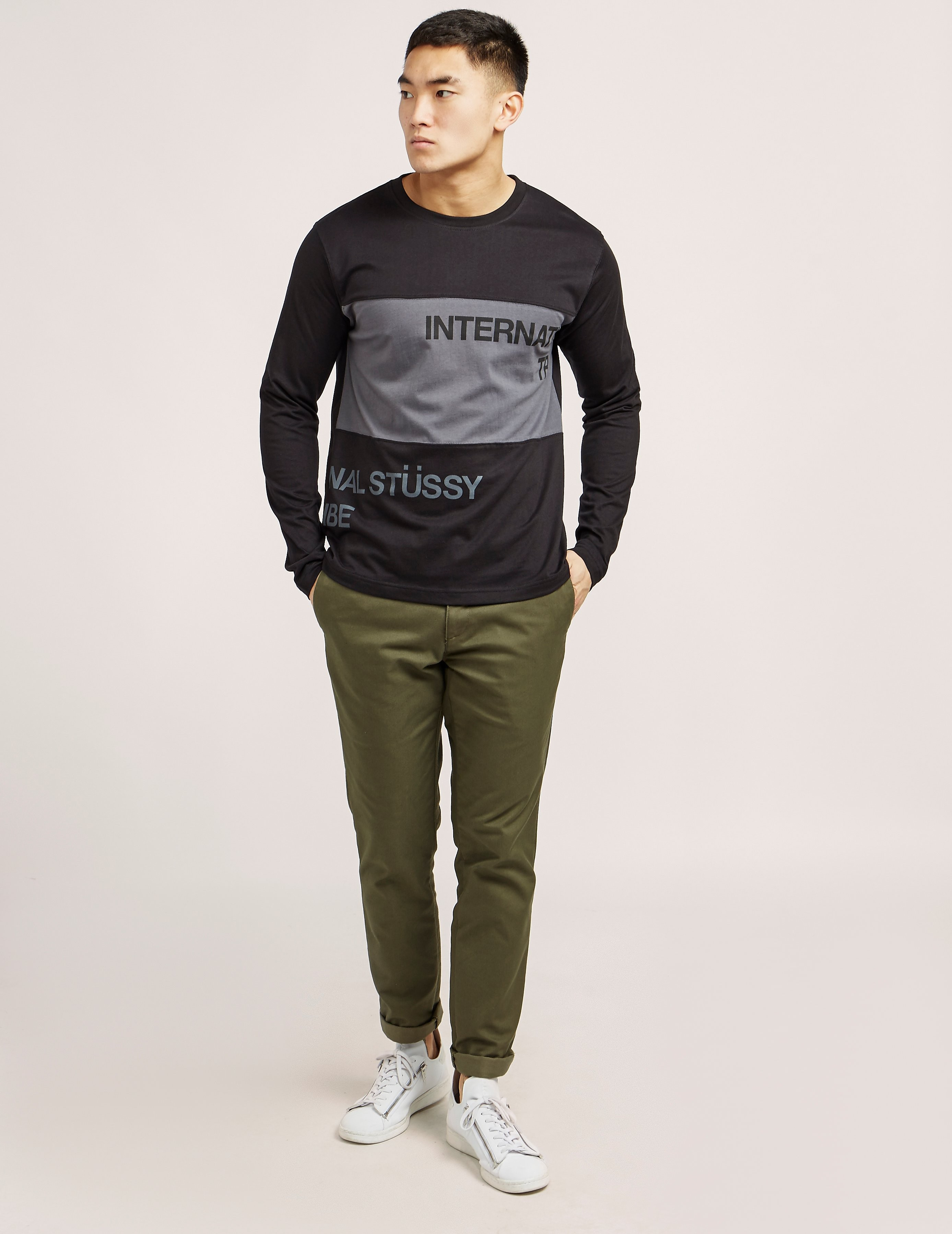 Stussy Split Panel Jersey Long Sleeve T-Shirt