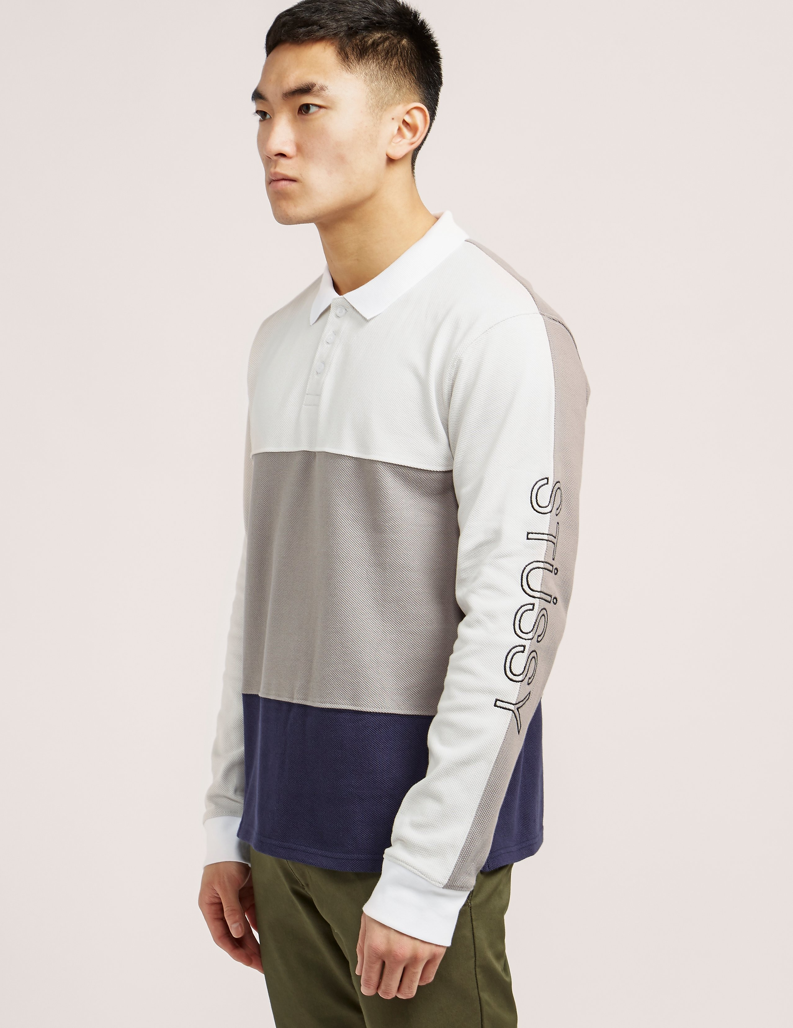 Stussy Panel Pique Long Sleeve Polo Shirt