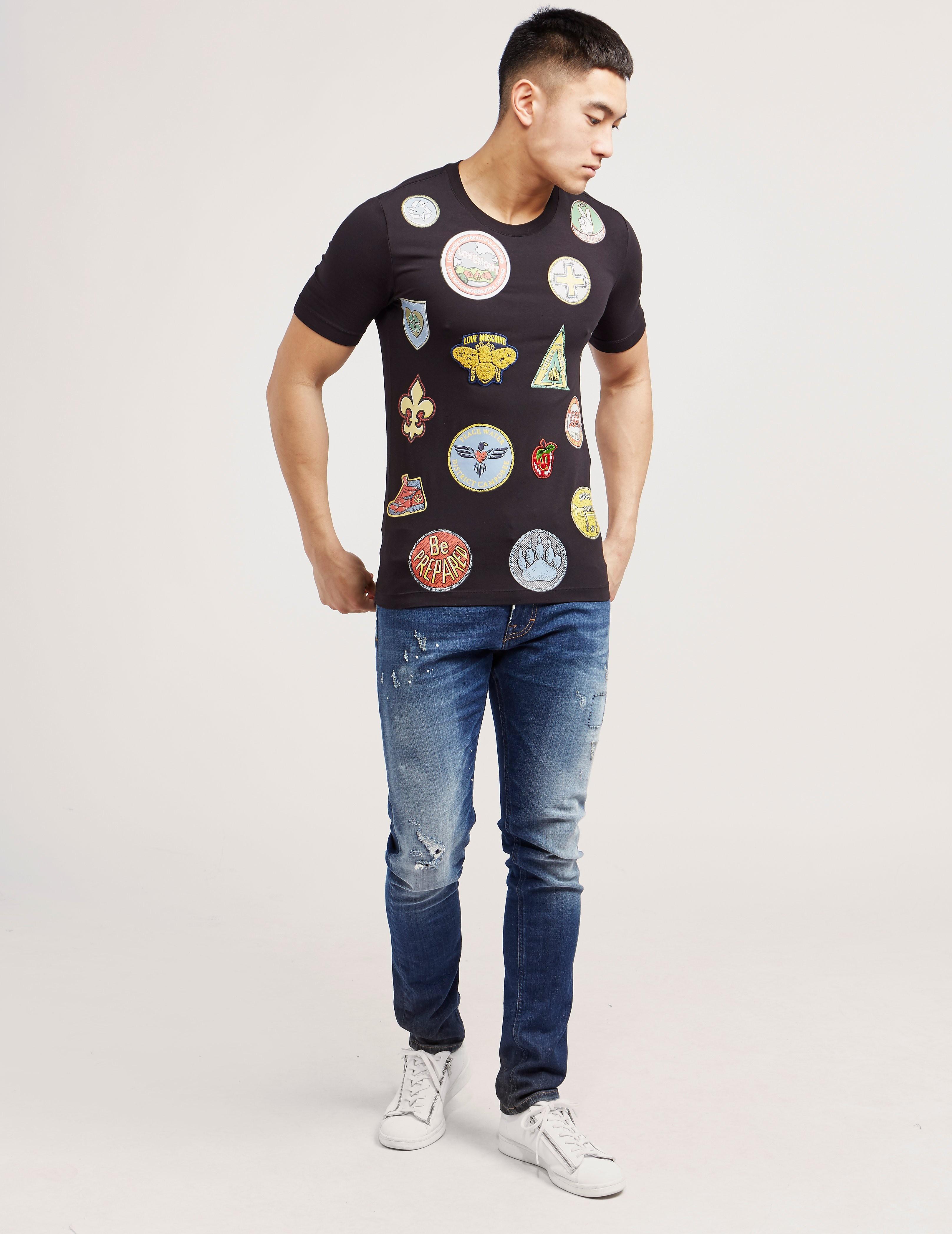 Love Moschino Badge Patch Short Sleeve T-Shirt
