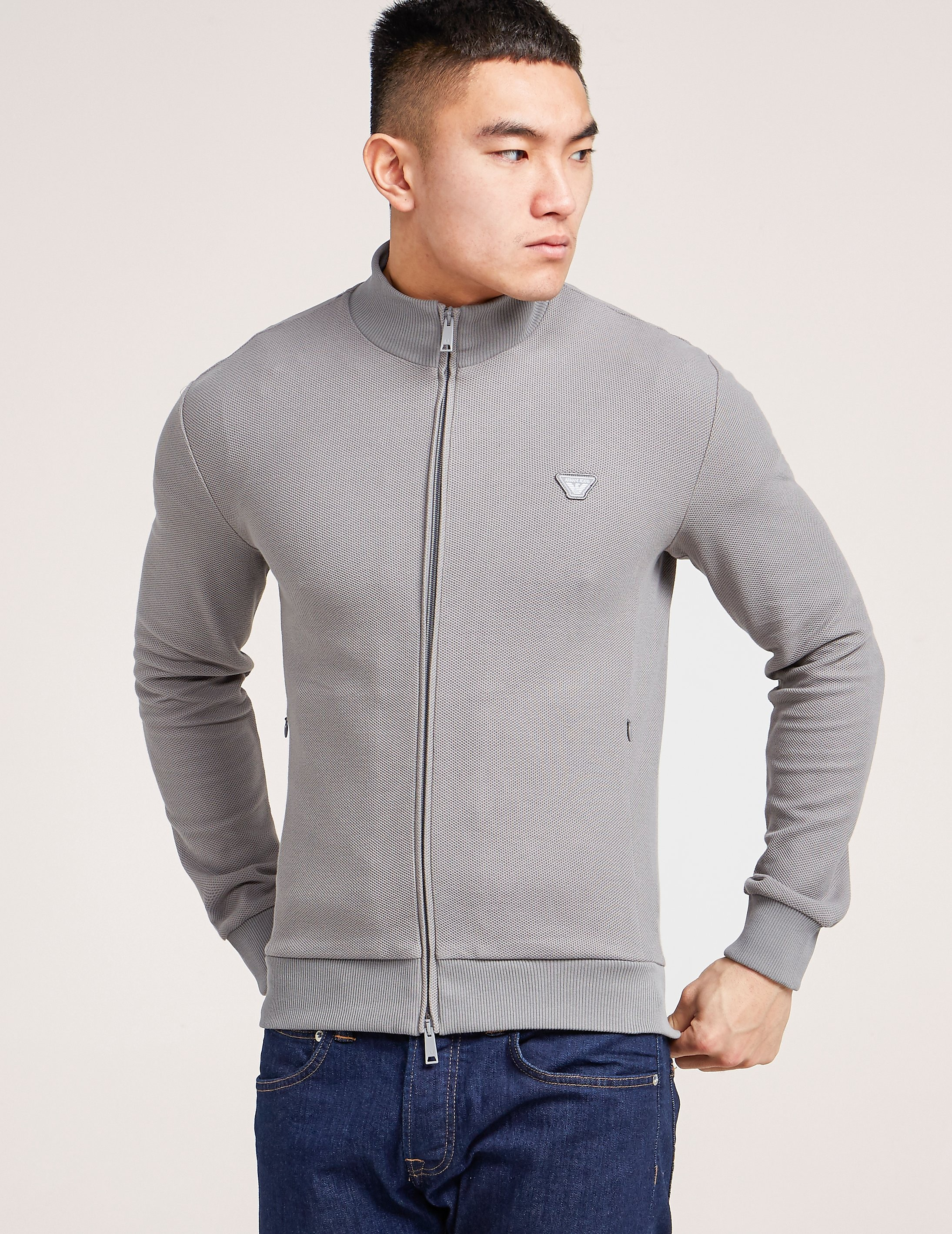 Armani Jeans Pique Zip Through Sweatshirt
