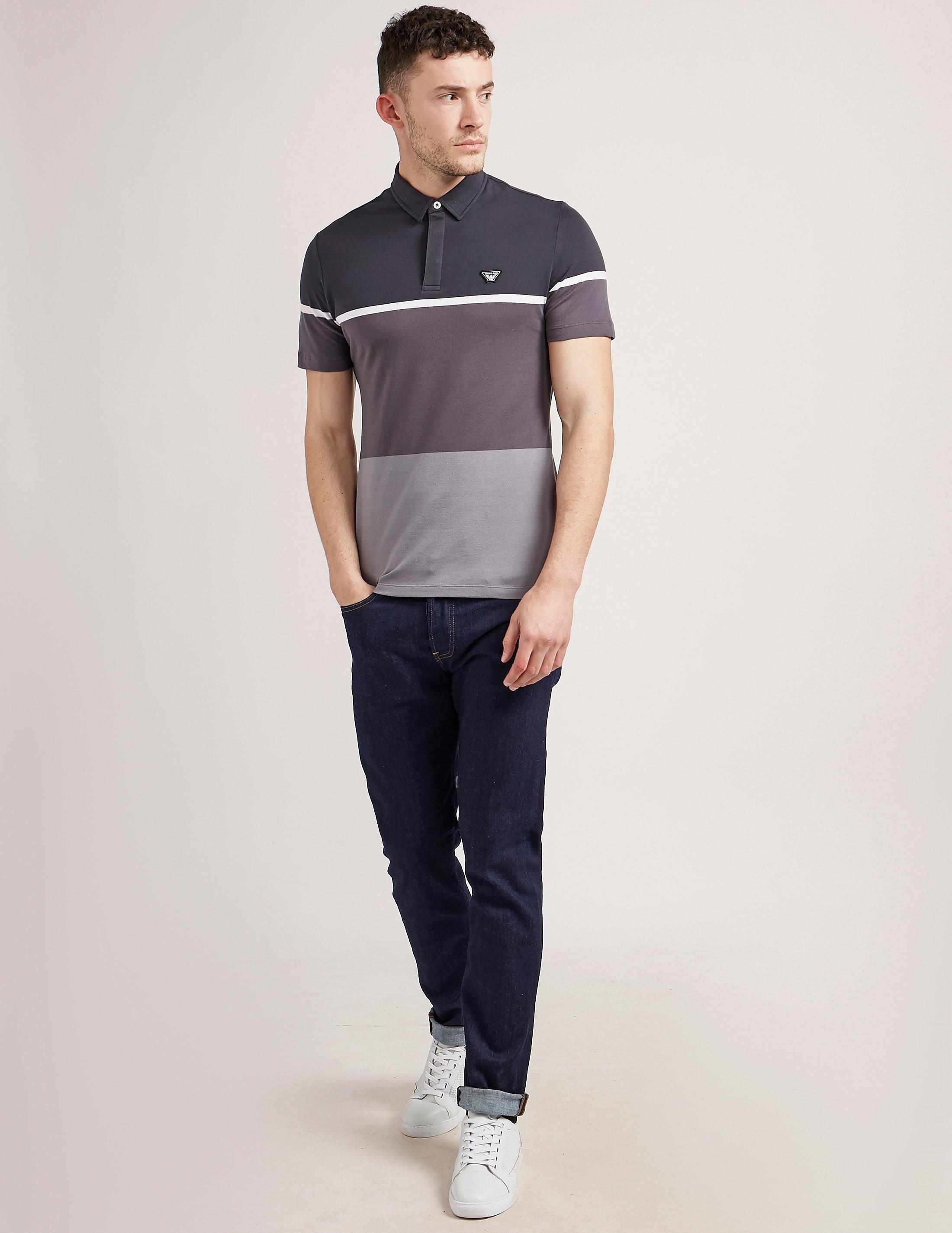 Armani Jeans Striped Pique Polo Shirt