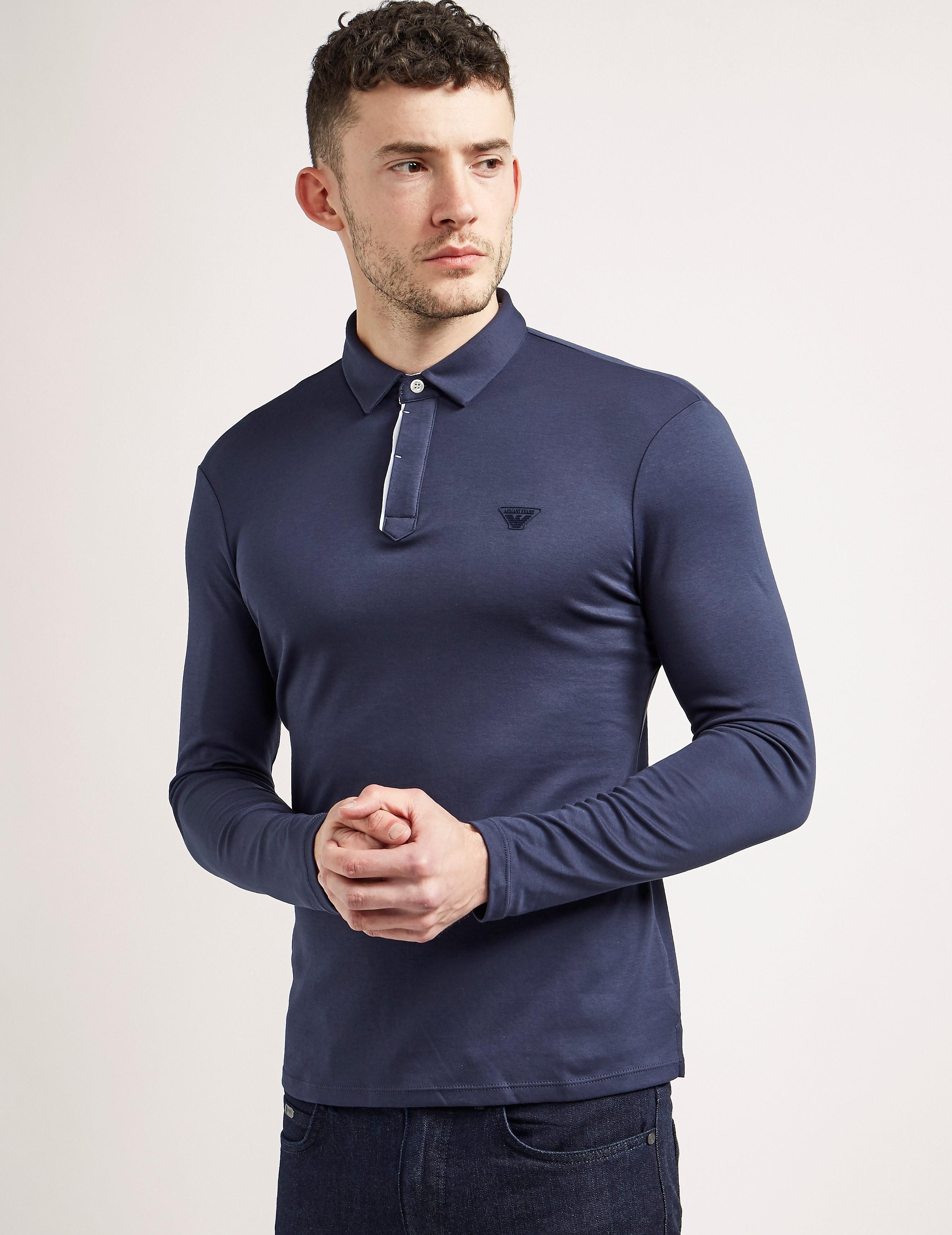 Armani Jeans Mercerised Long Sleeve Polo Shirt