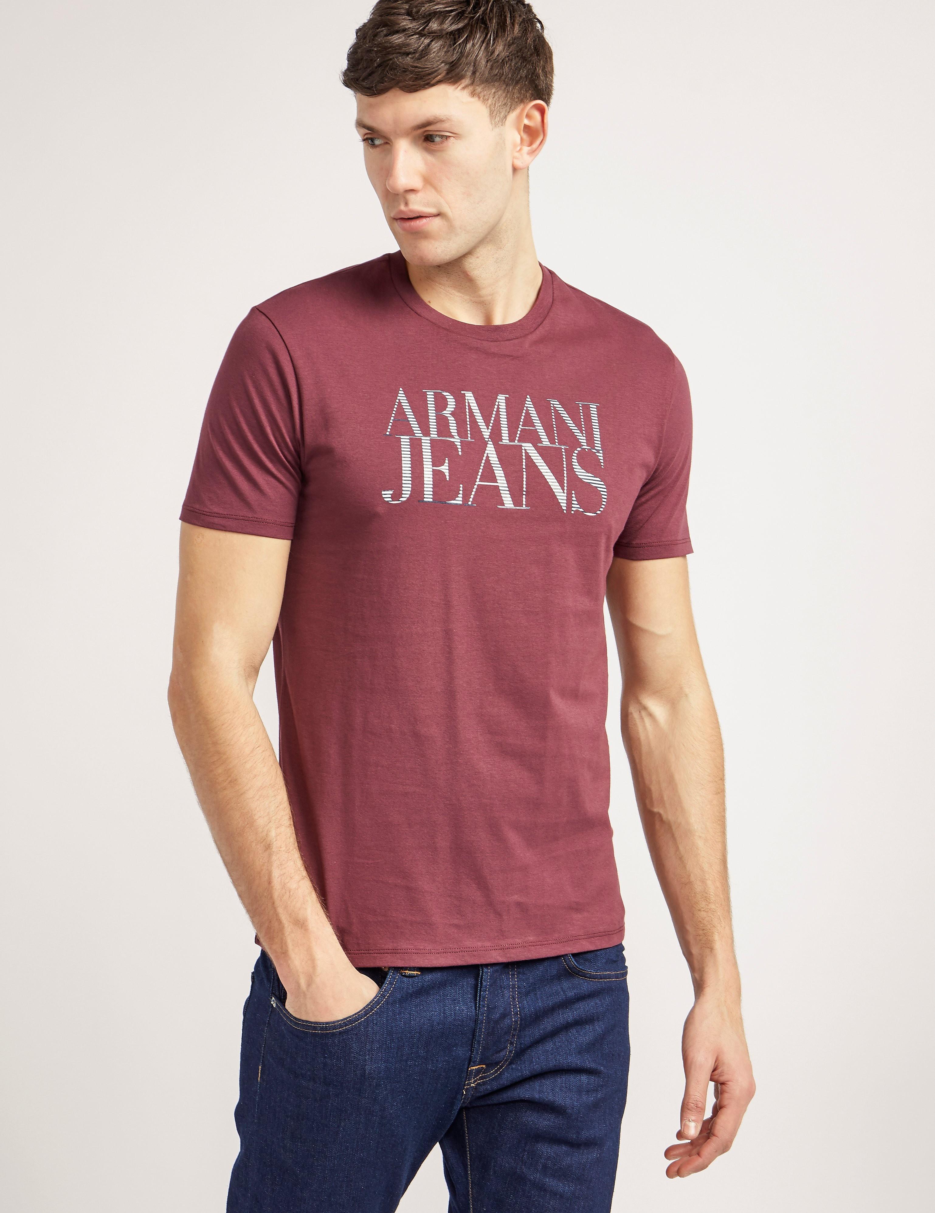 Armani Jeans Stripe Logo Crew Short Sleeve T-Shirt