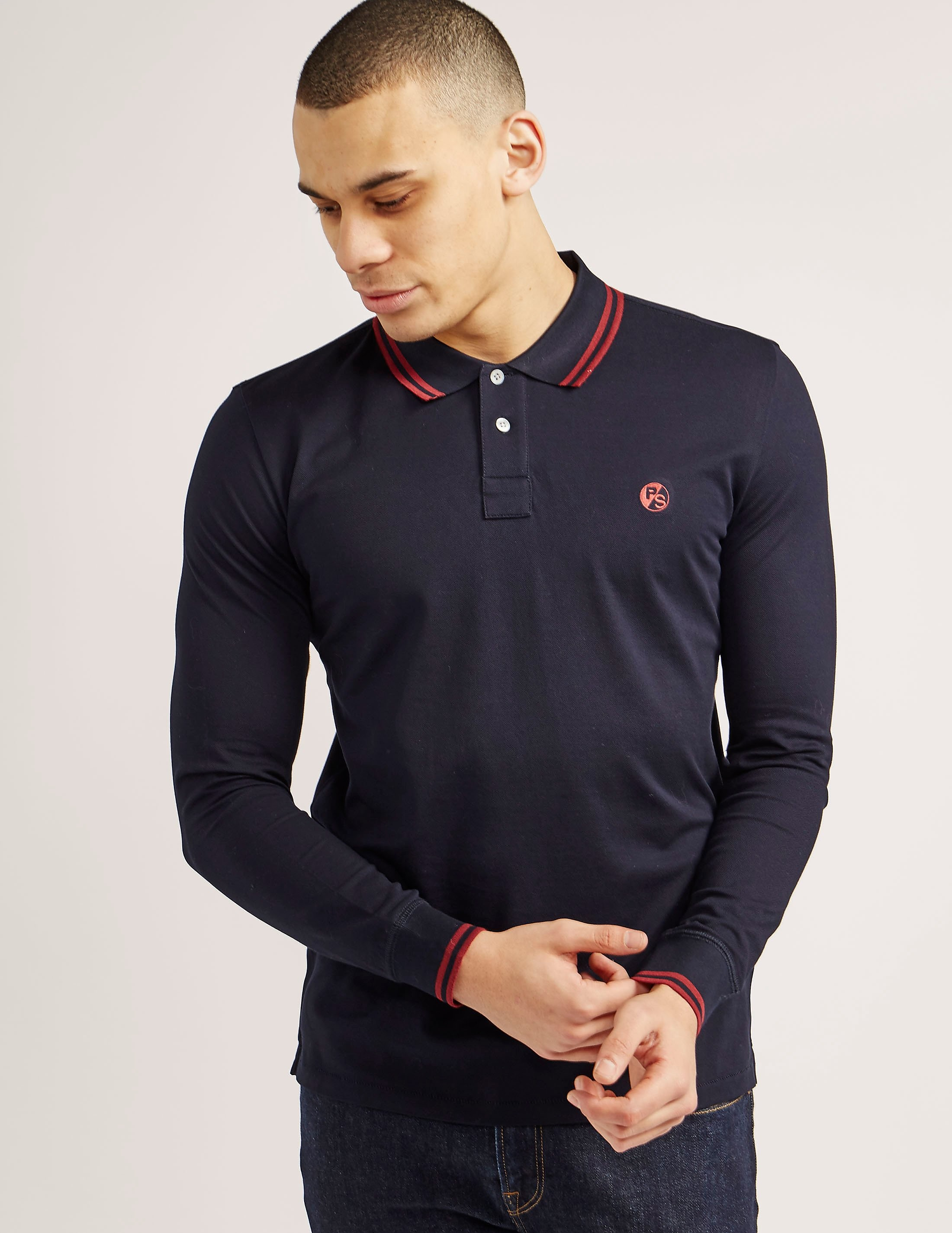 Paul Smith Double Tipped Long Sleeve Polo Shirt