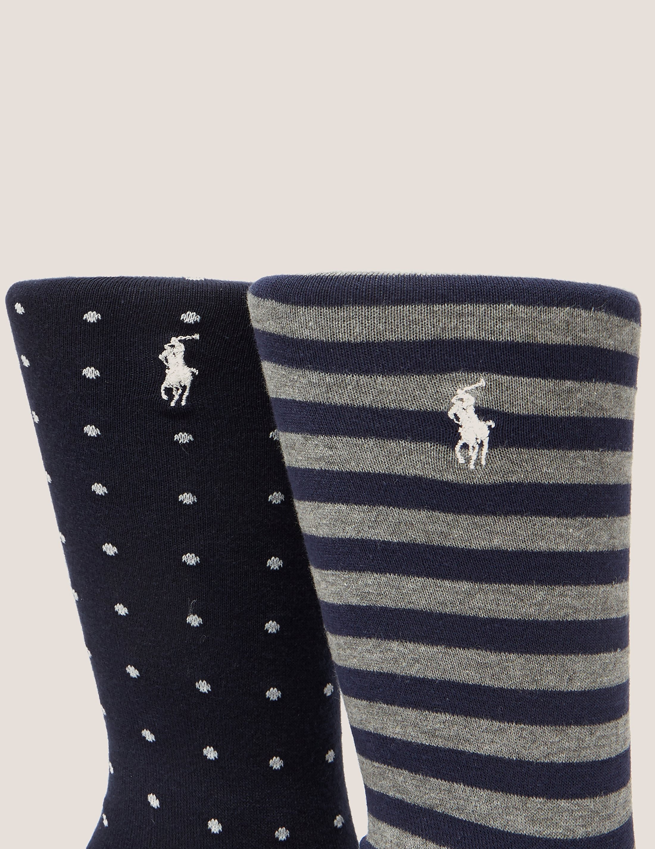 Polo Ralph Lauren 2-Pack Spot & Stripe Socks