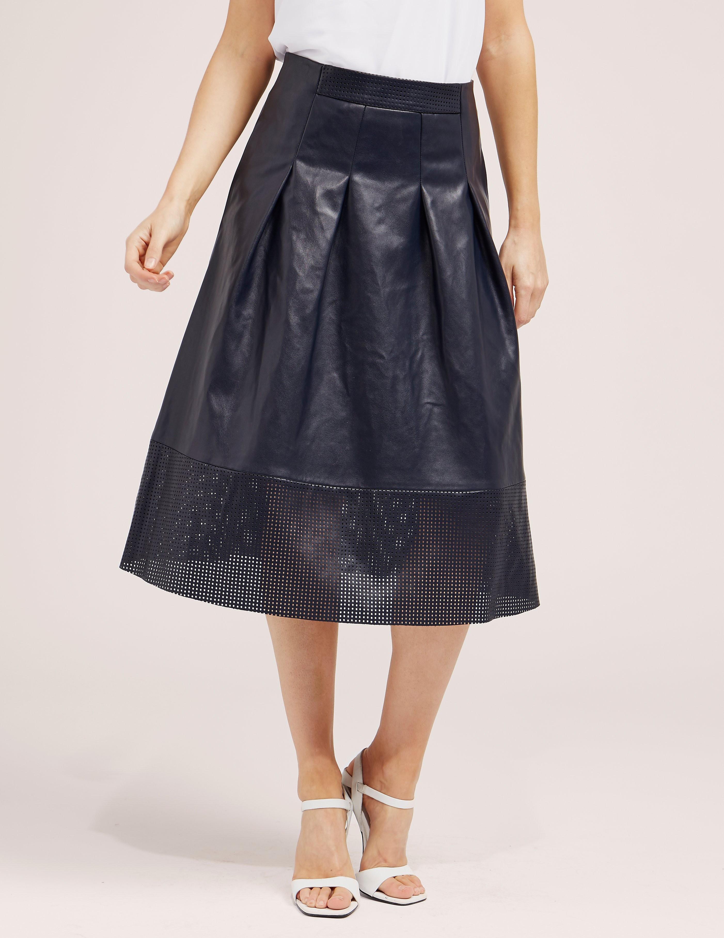 BOSS Faux Leather Midi Skirt