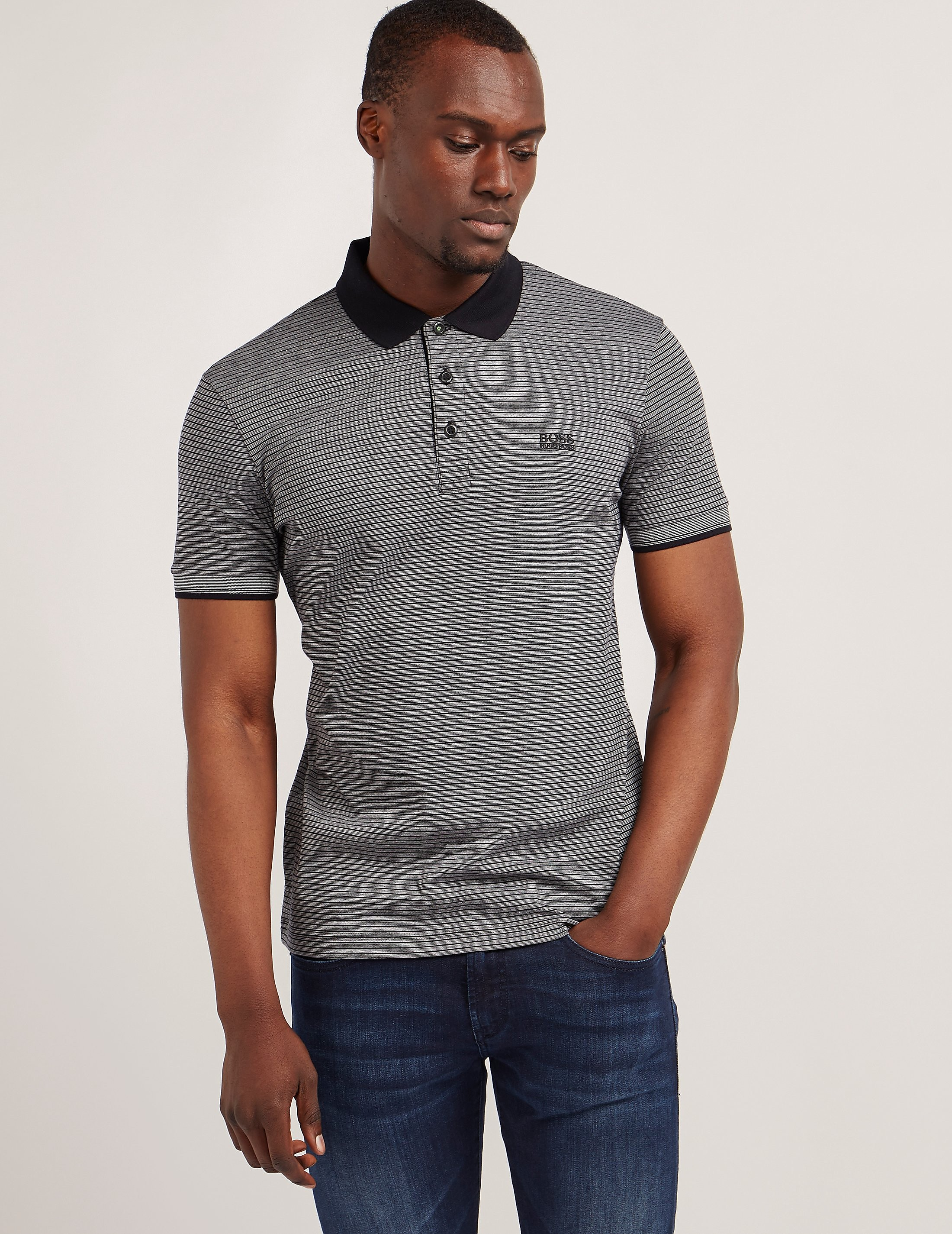 BOSS Striped Short Sleeve Polo Shirt