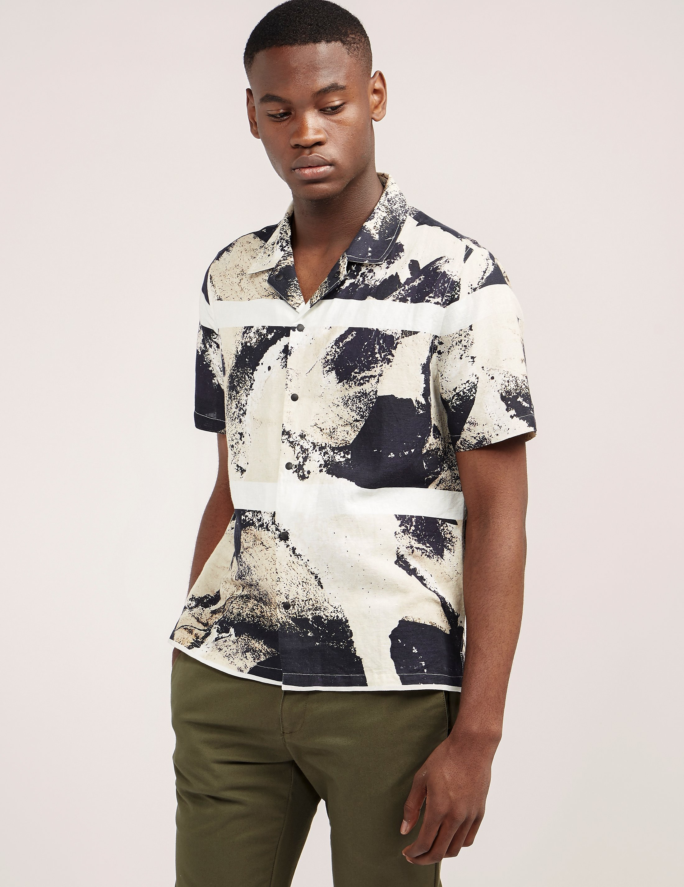 Folk Shadow Print Short Sleeve Shirt