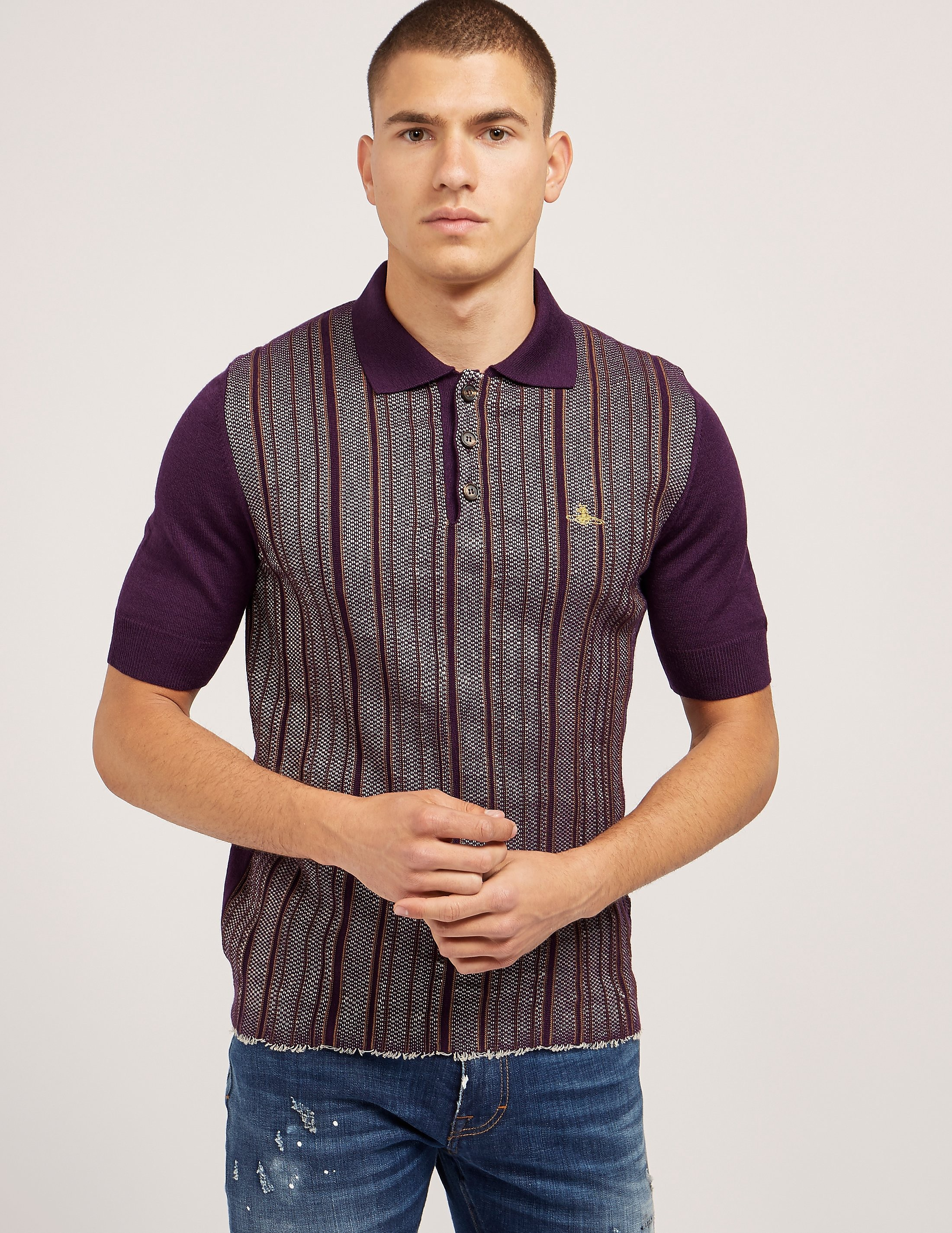 Vivienne Westwood Stripe Knit Short Sleeve Polo Shirt