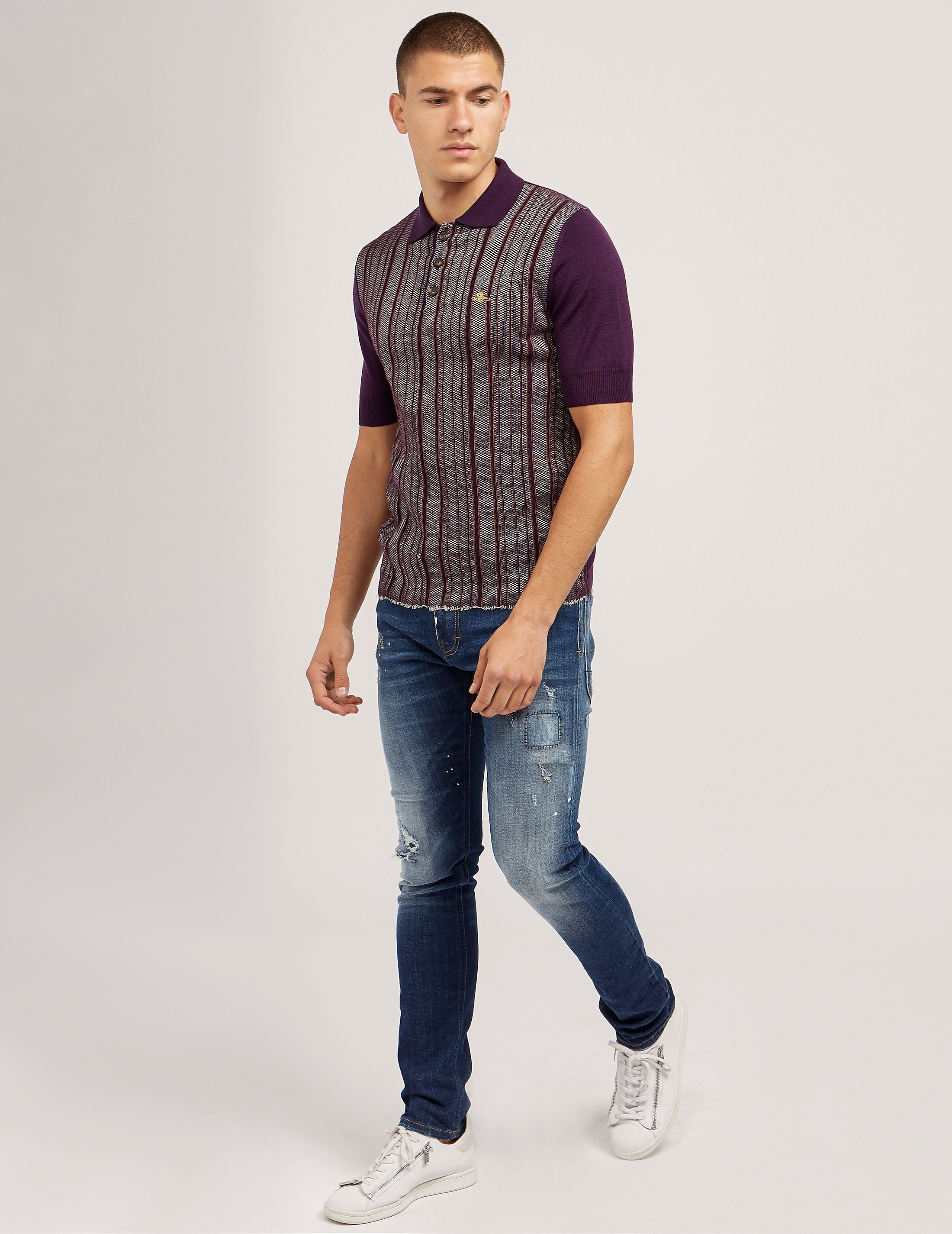 Vivienne Westwood Stripe Knit Short Sleeve Polo Shirt