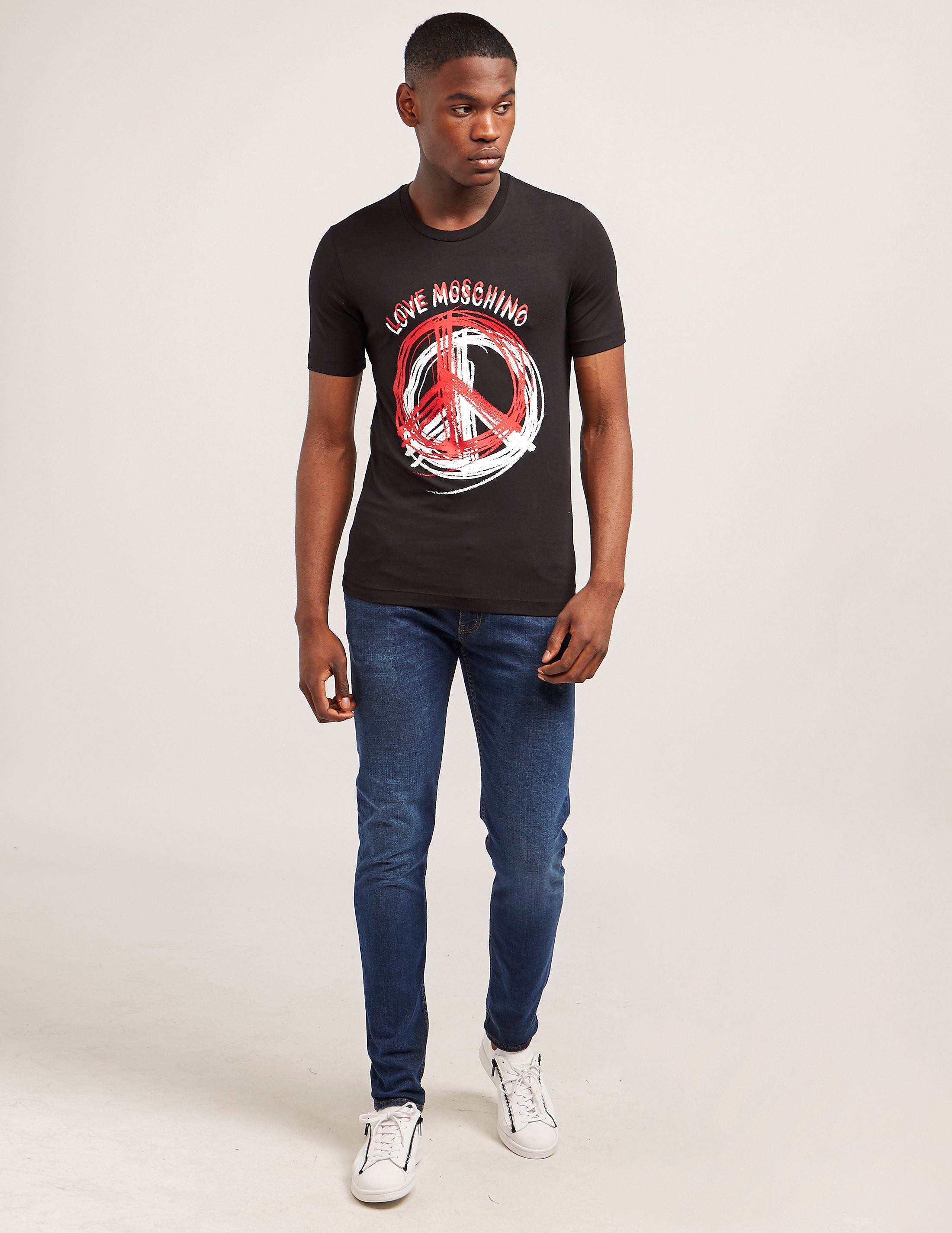 Love Moschino Stencil Peace Short Sleeve T-Shirt