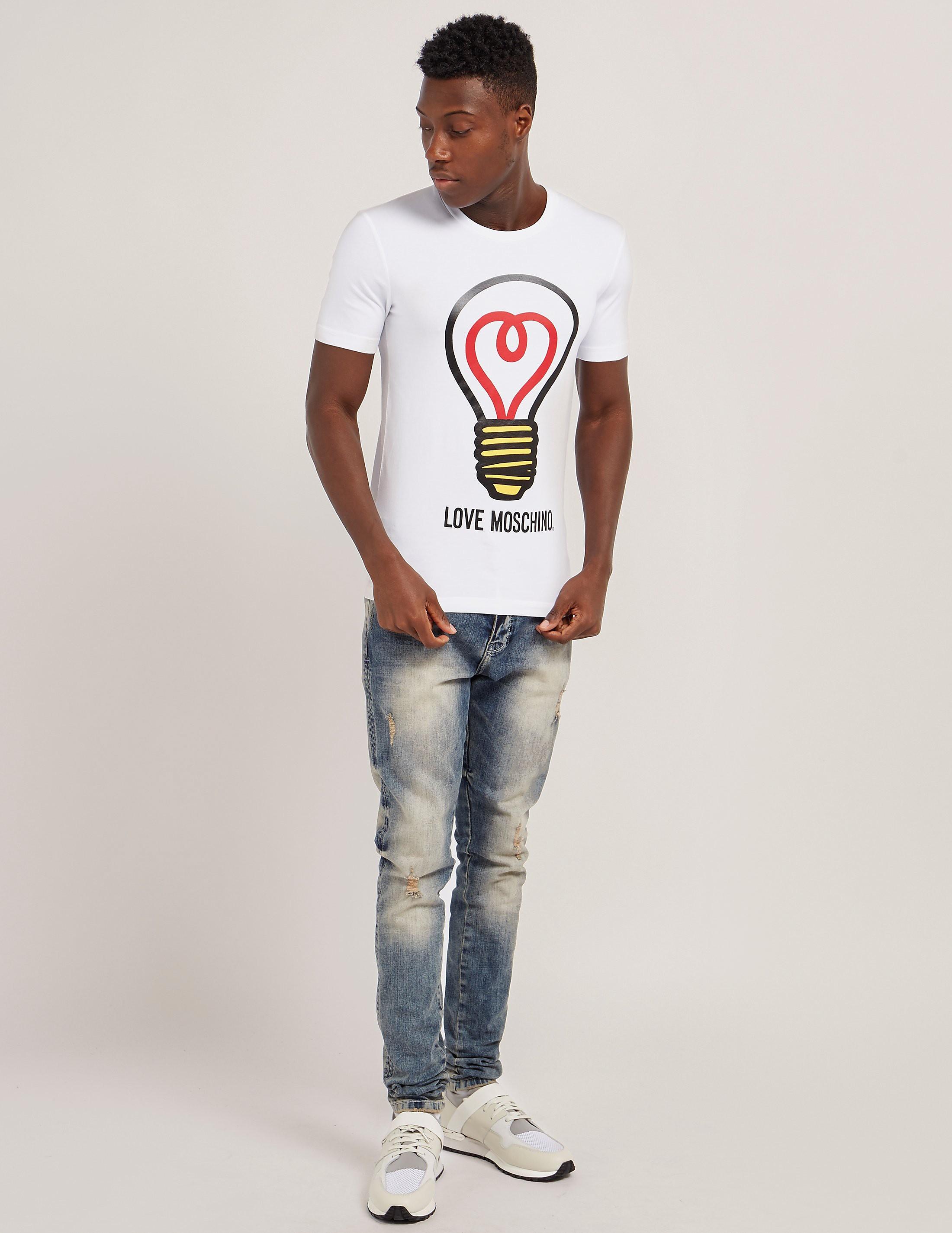 Love Moschino Light Bulb Print Short Sleeve T-Shirt
