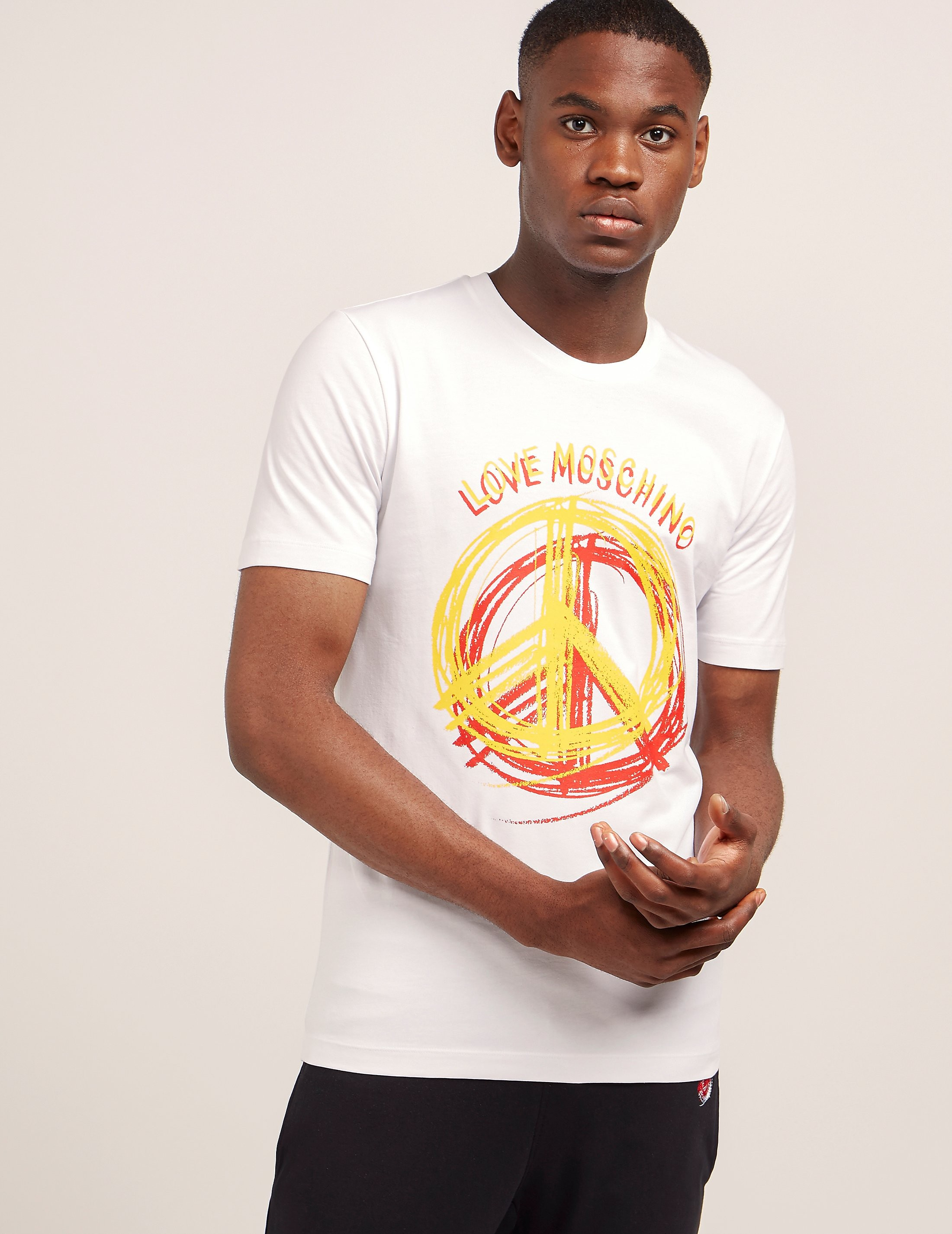 Love Moschino Stencil Peace Short Sleeve T-Shirt