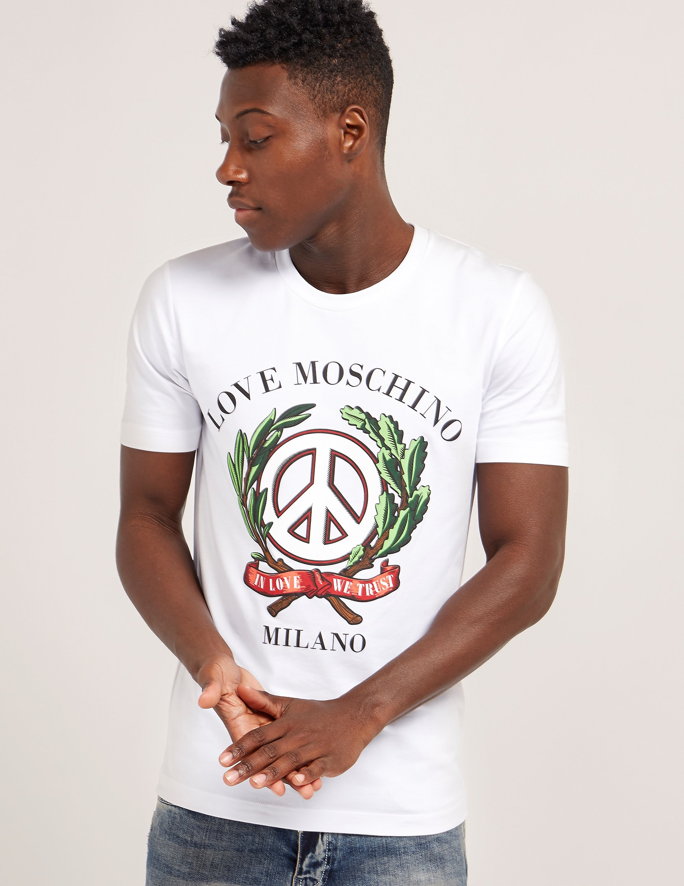 Love Moschino Wreath Logo Short Sleeve T-Shirt