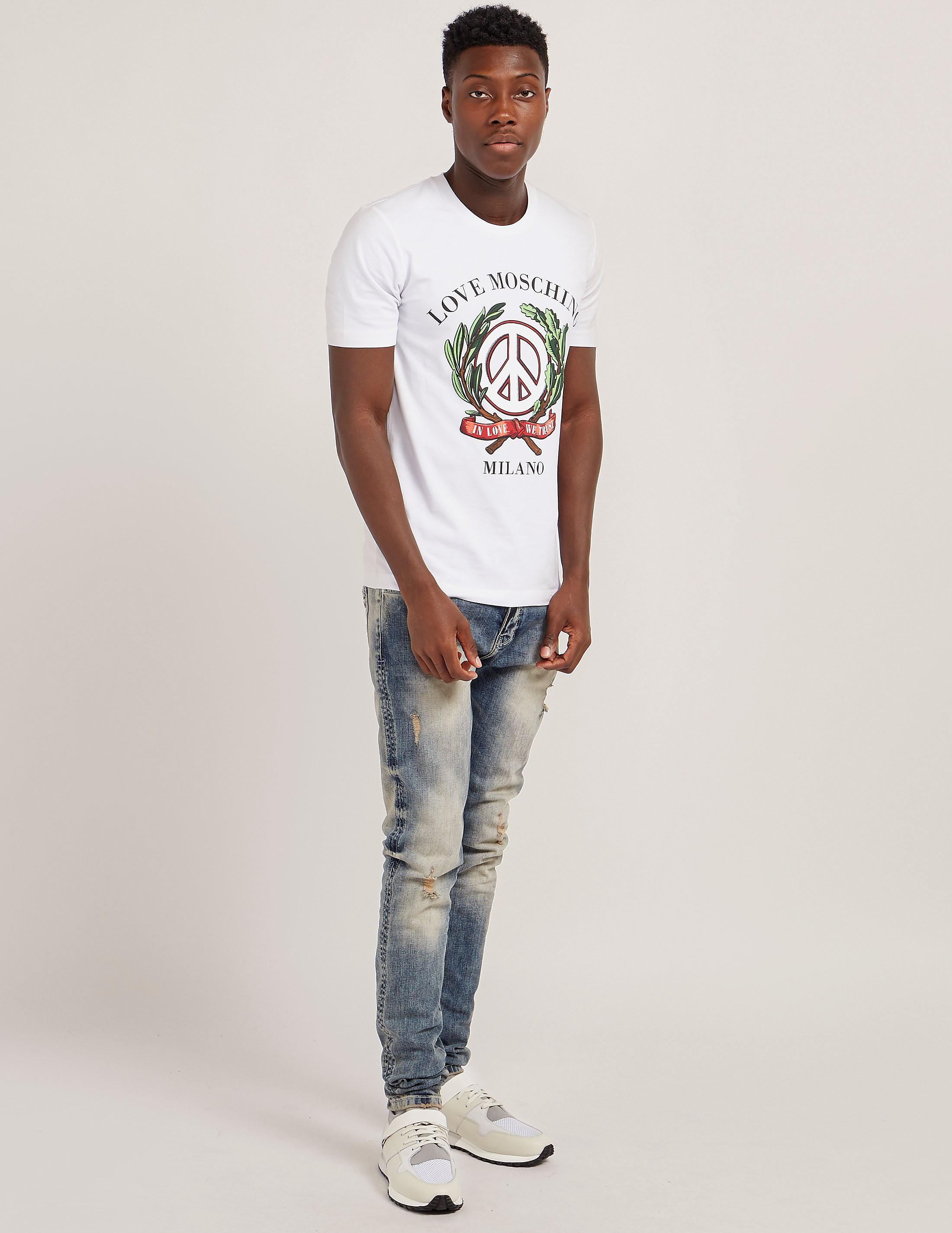 Love Moschino Wreath Logo Short Sleeve T-Shirt