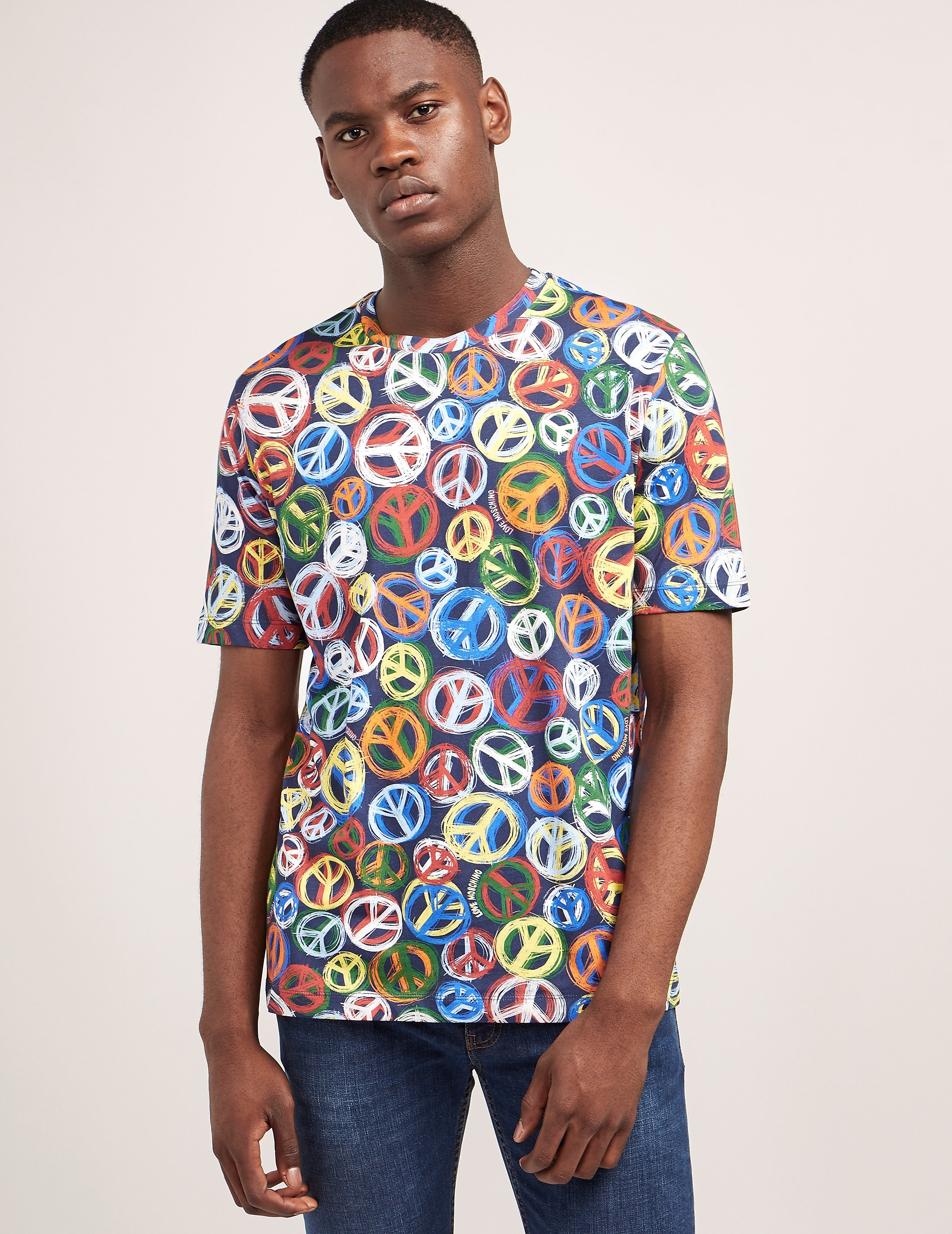 Love Moschino Peace Print Short Sleeve T-Shirt