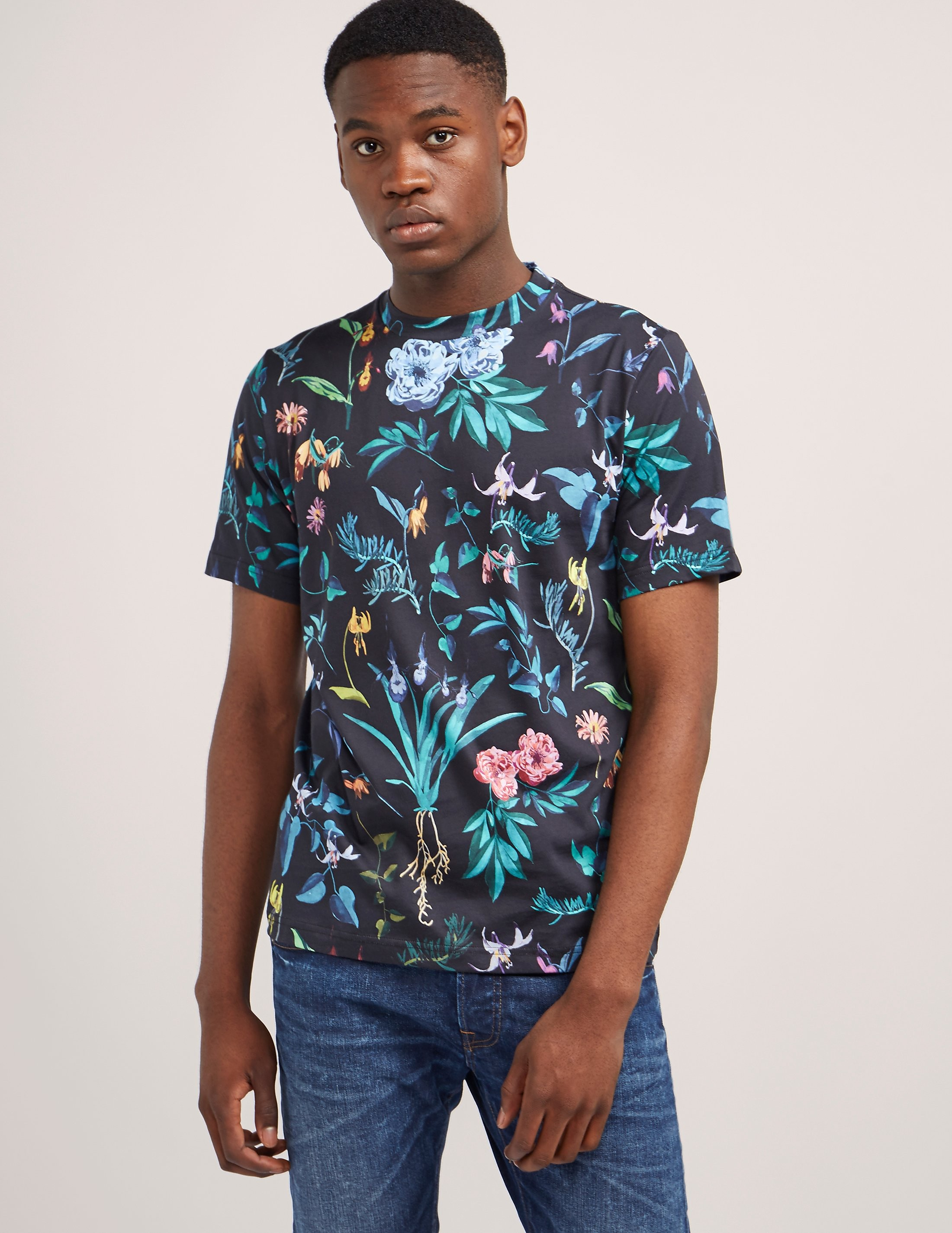 Paul Smith Painted Floral Print Short Sleeve T-Shirt