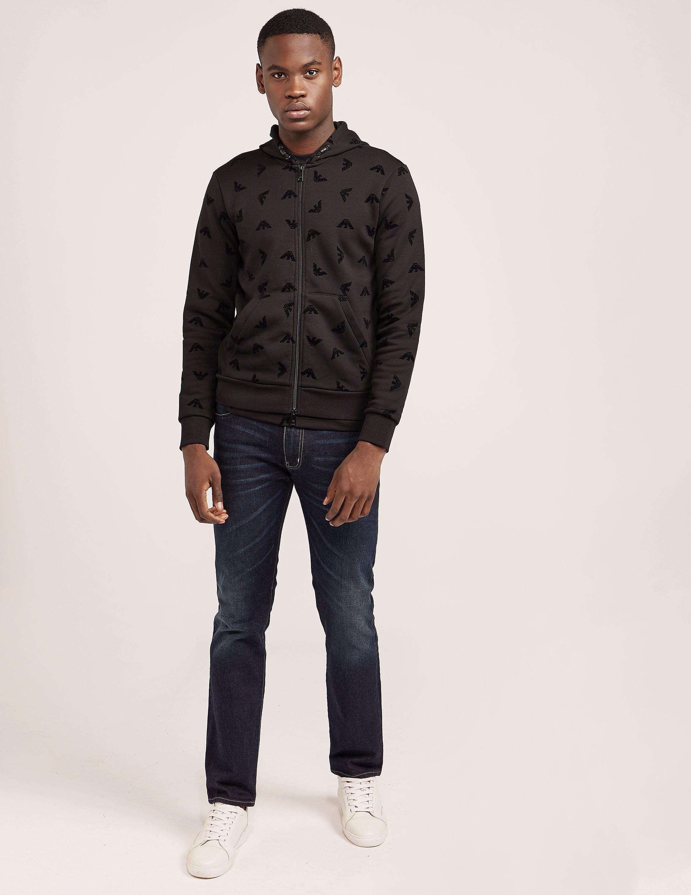 Armani Jeans Eagle Flocked Print Hoody