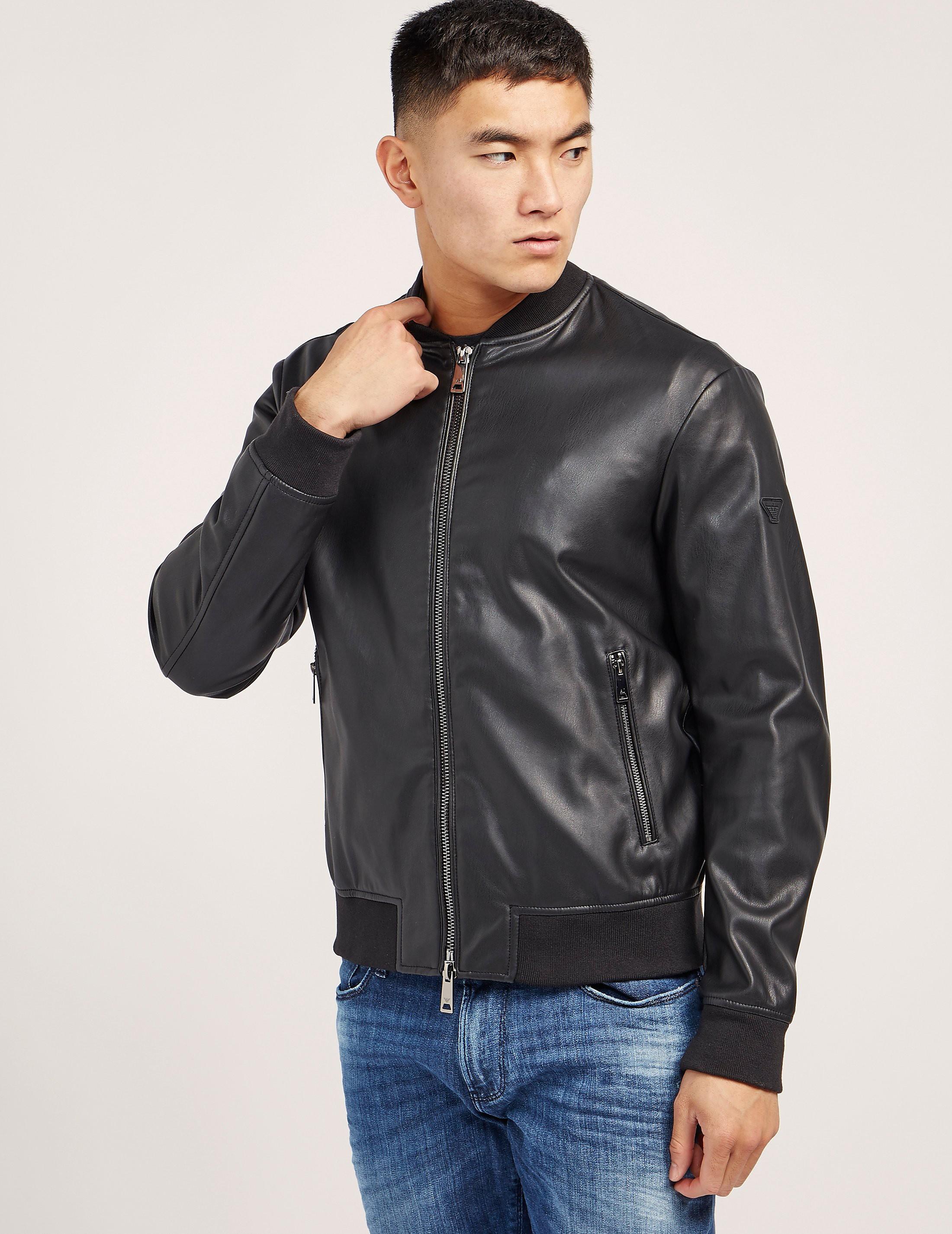Armani Jeans Faux Leather Bomber Jacket