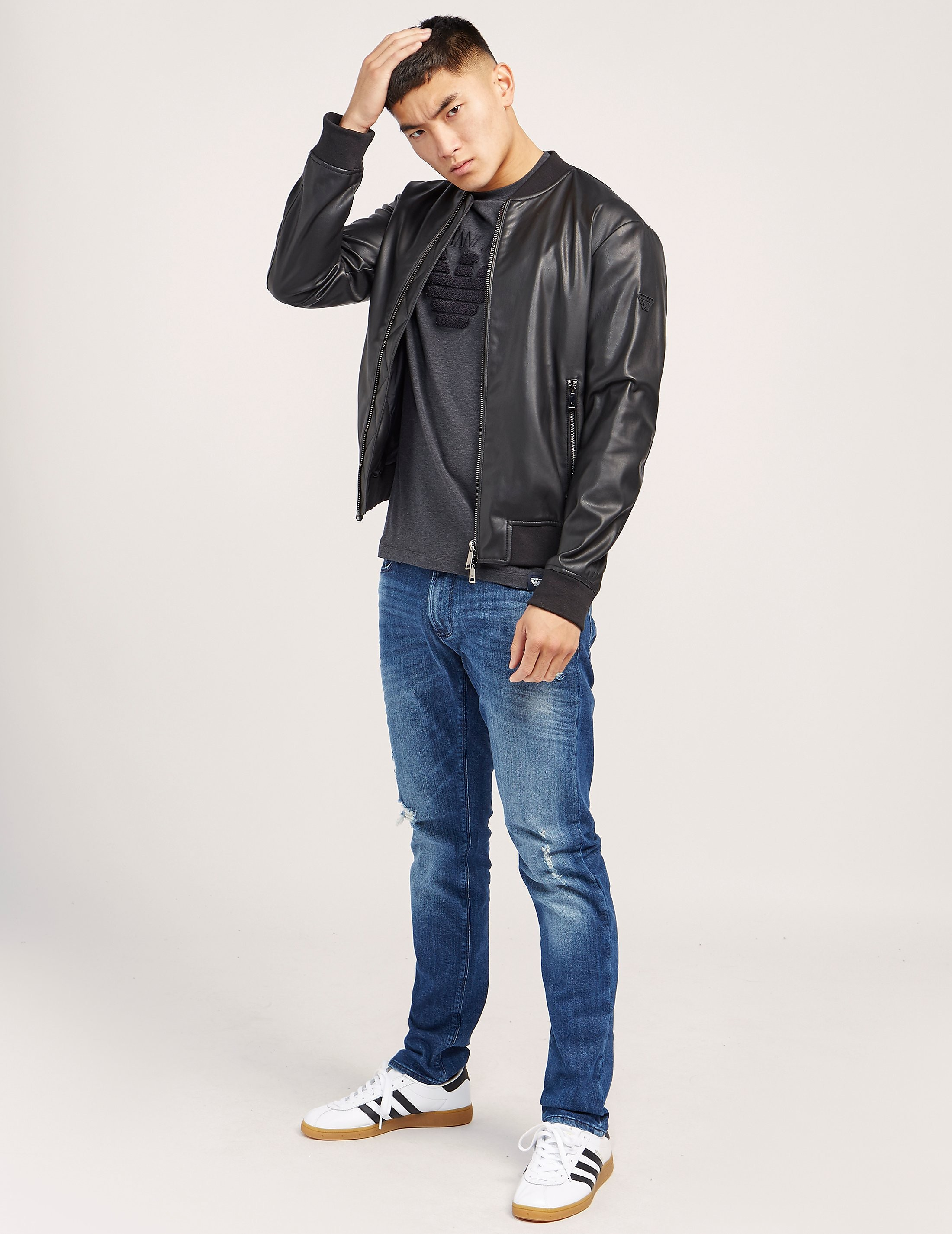 Armani Jeans Faux Leather Padded Bomber Jacket