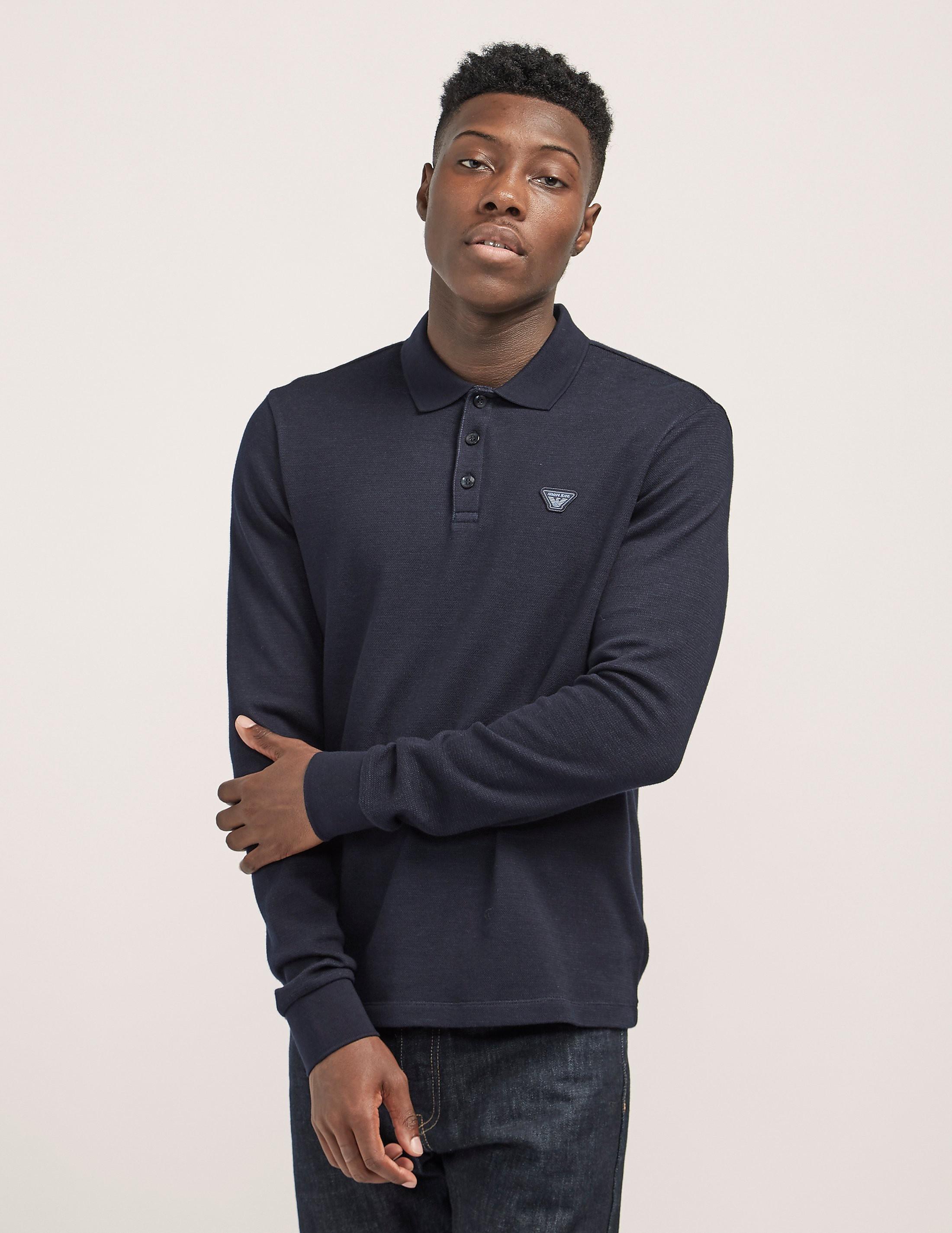 Armani Jeans Eagle Long Sleeve Polo Shirt