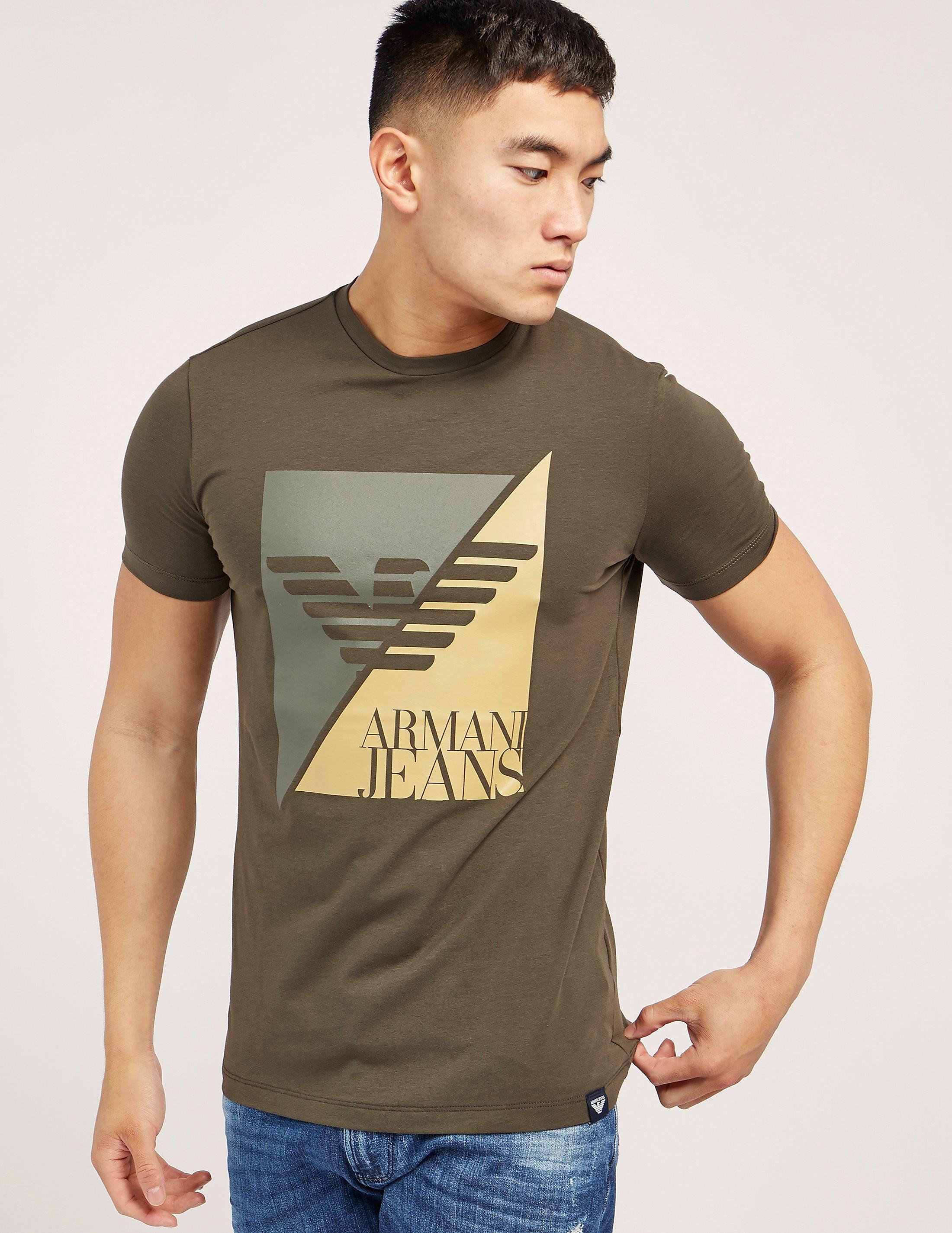 Armani Jeans Sliced Eagle Logo Short Sleeve T-Shirt