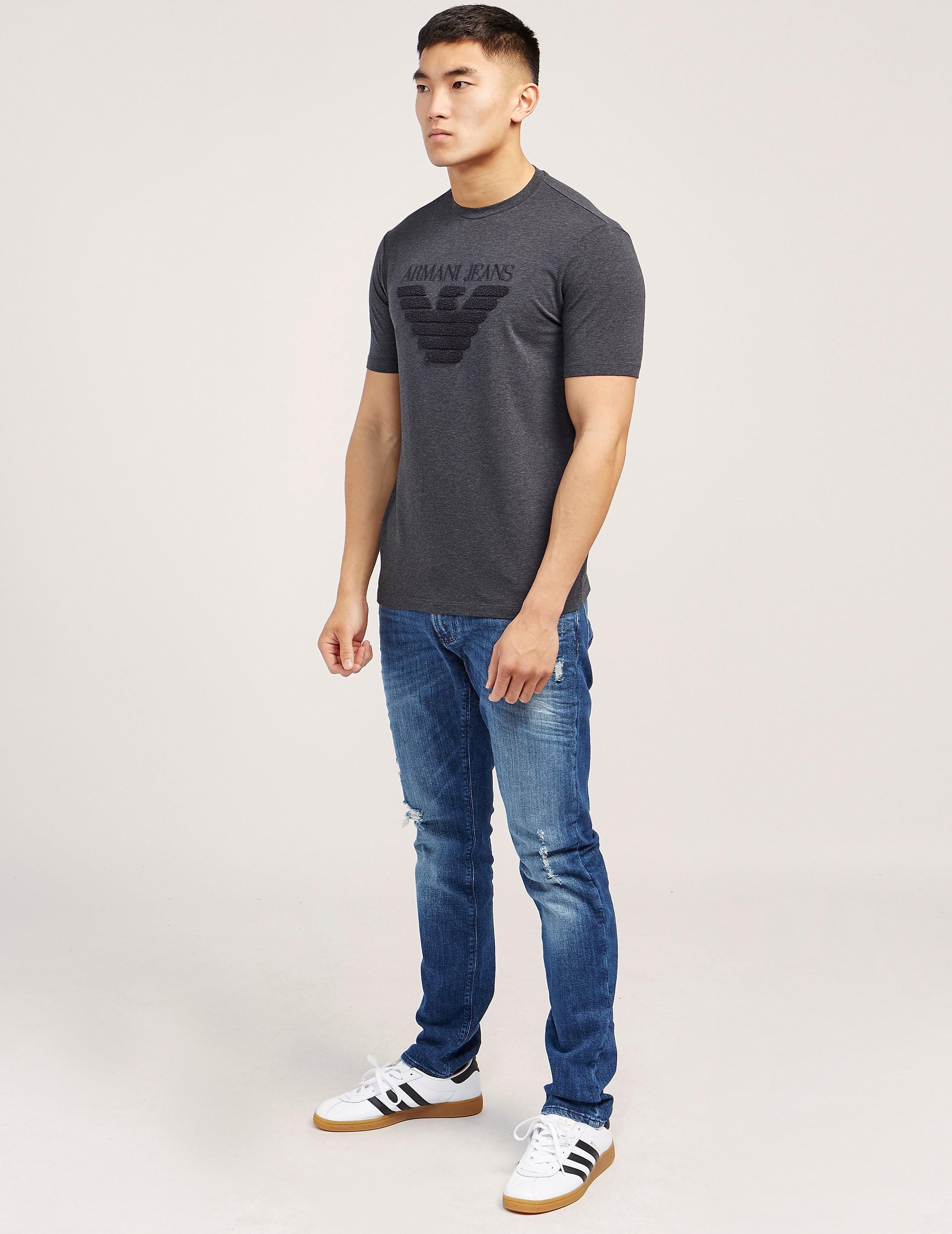 Armani Jeans Textured Eagle Logo Short Sleeve T-Shirt