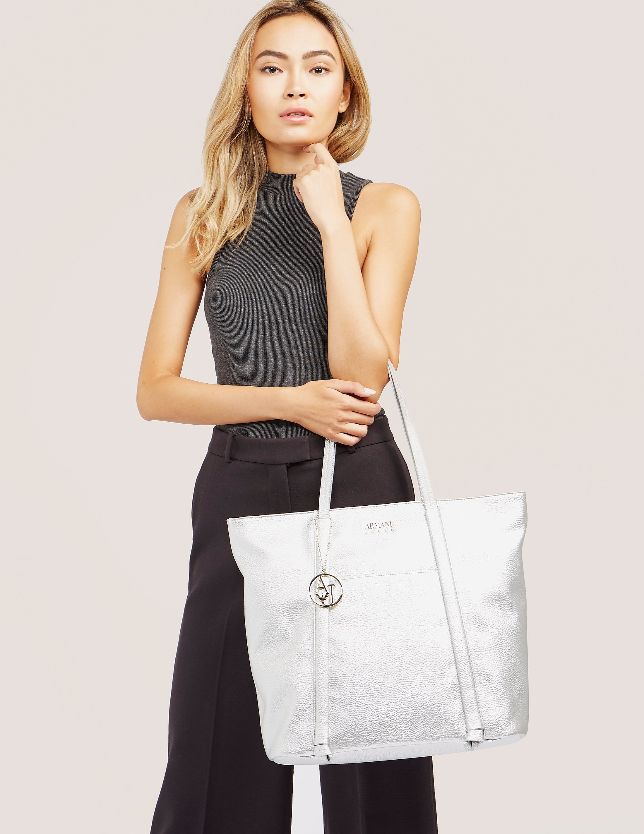 Armani Jeans Metallic Shopper Bag