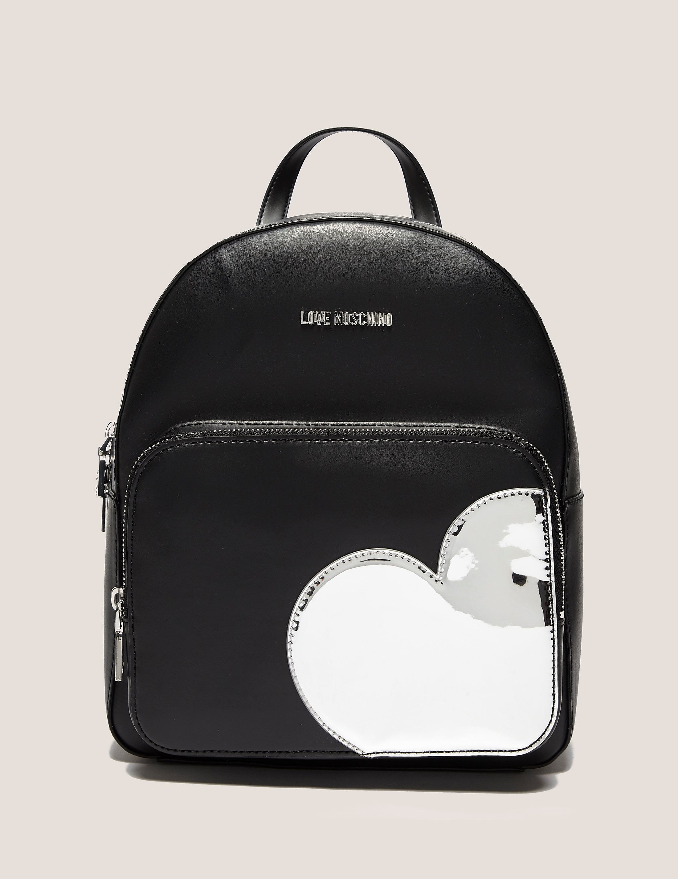 Love Moschino Silver Heart Backpack