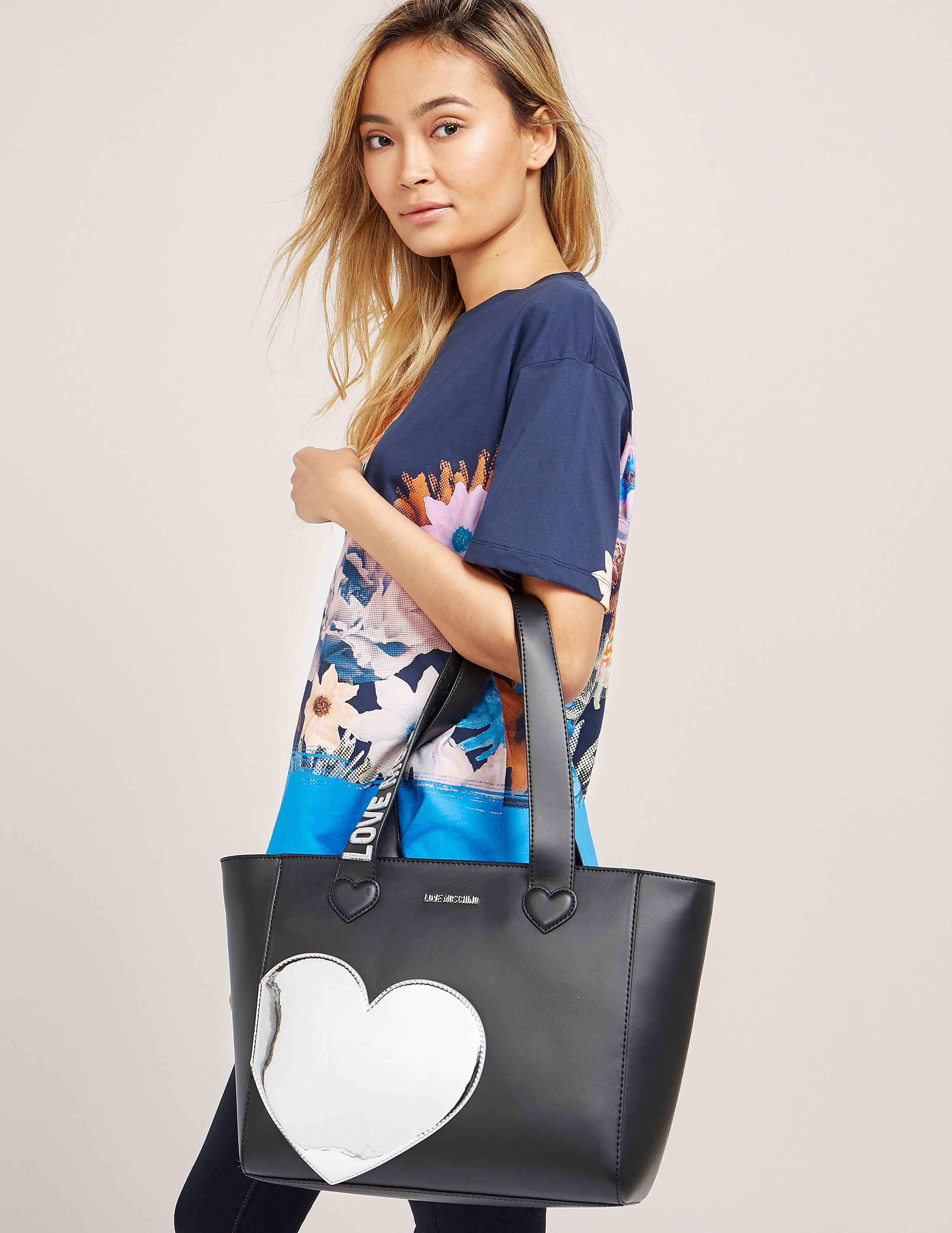 Love Moschino Silver Heart Shopper Bag