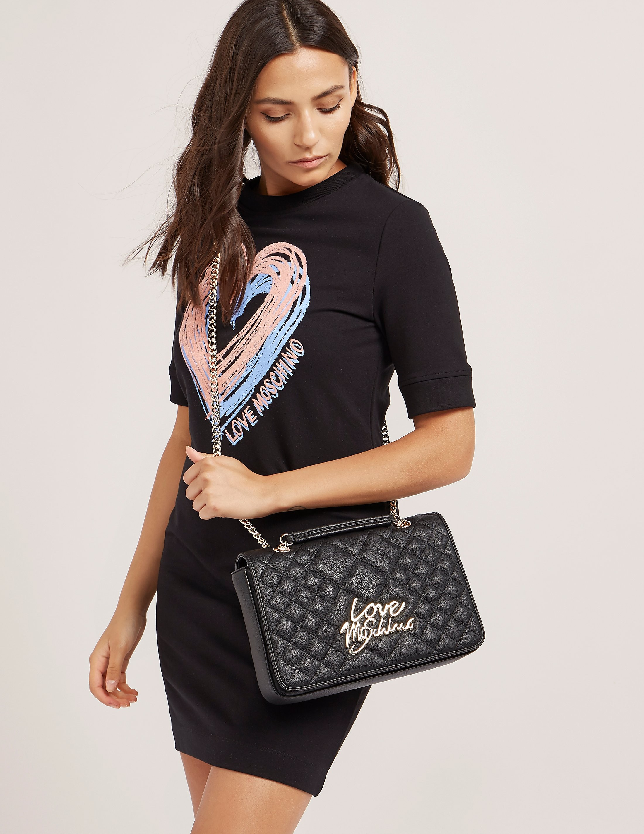 Love Moschino Quilted Script Logo Shoulder Bag