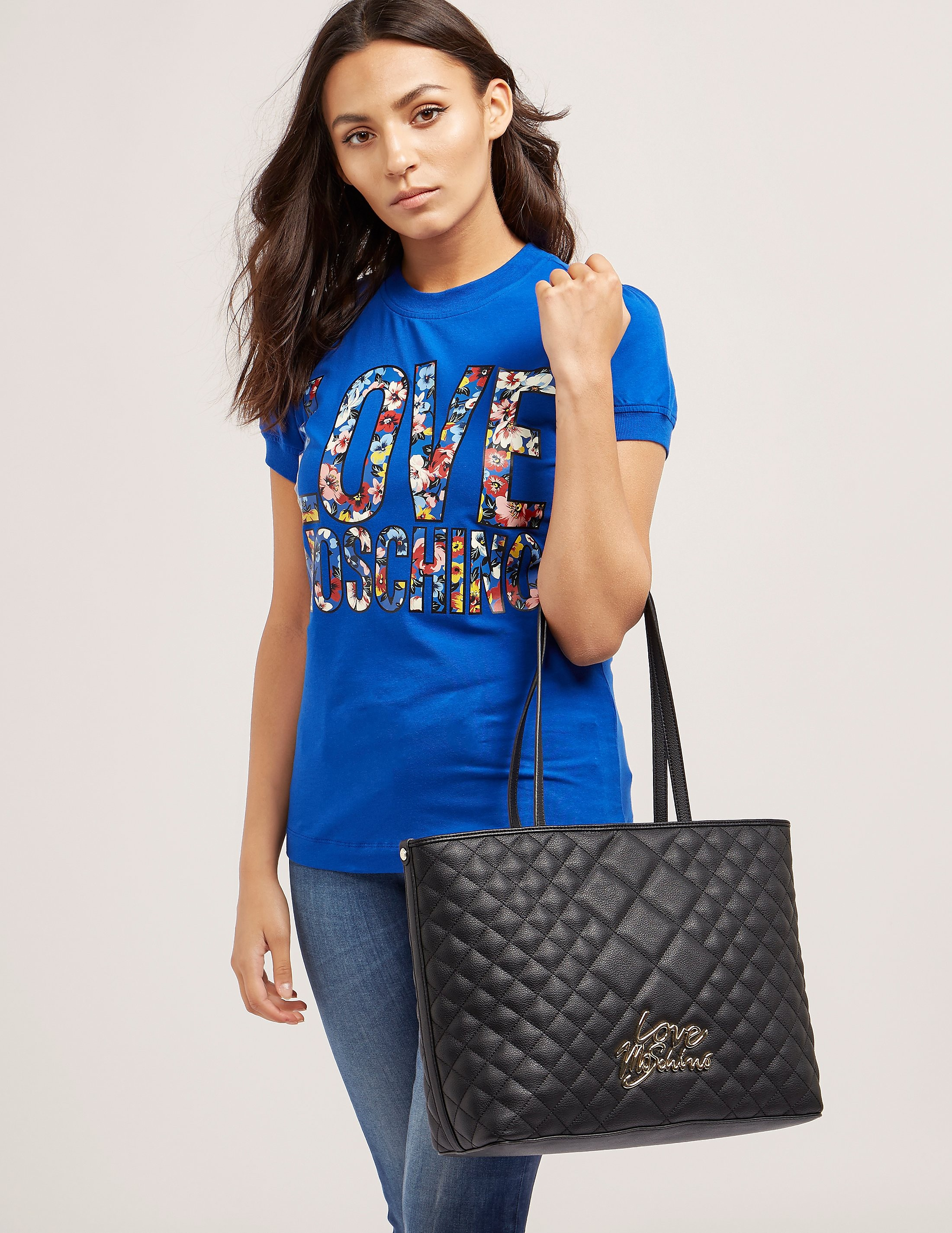 Love Moschino Quilted Script Logo Shopper Bag