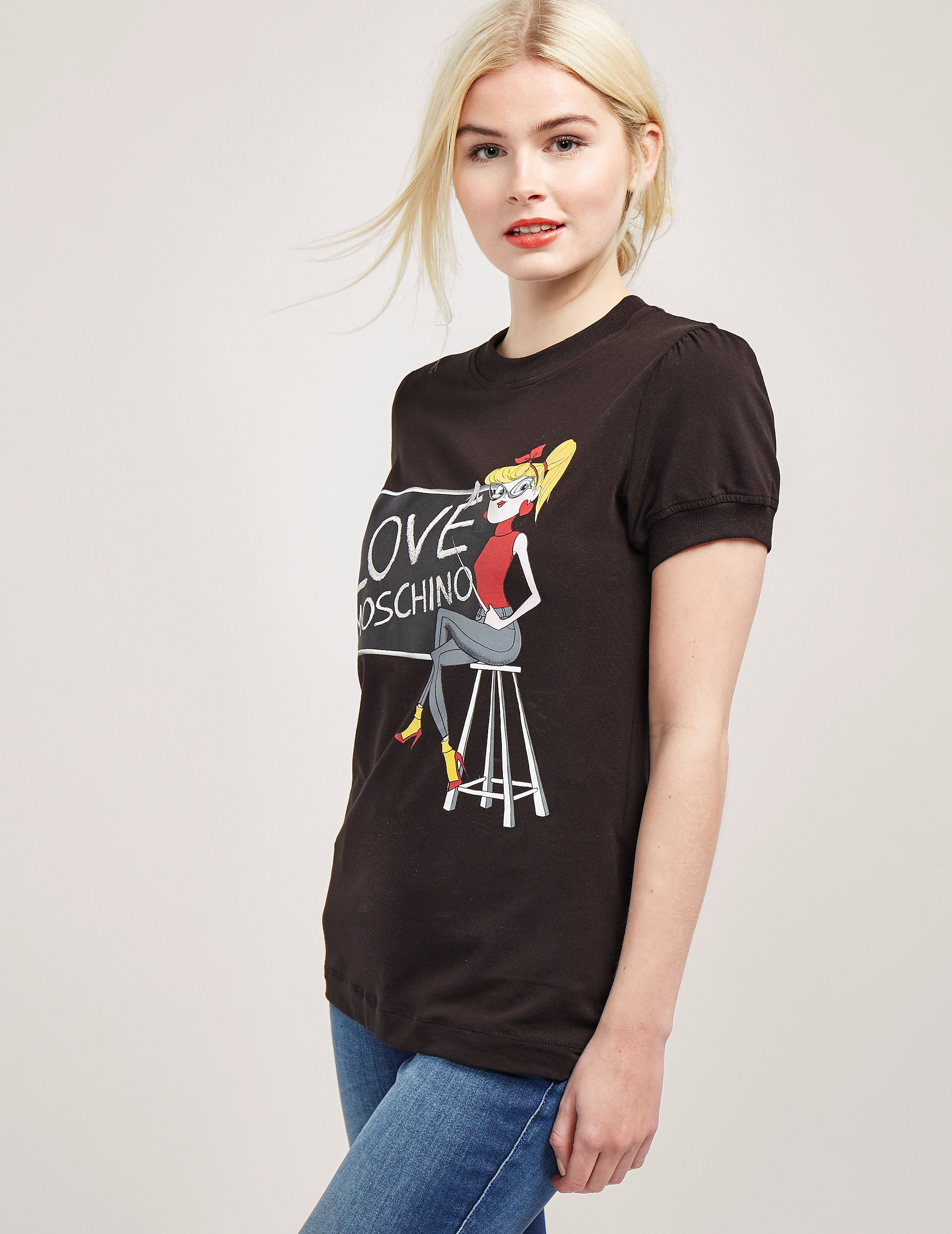 Love Moschino Short Sleeve Love Chalk T-Shirt