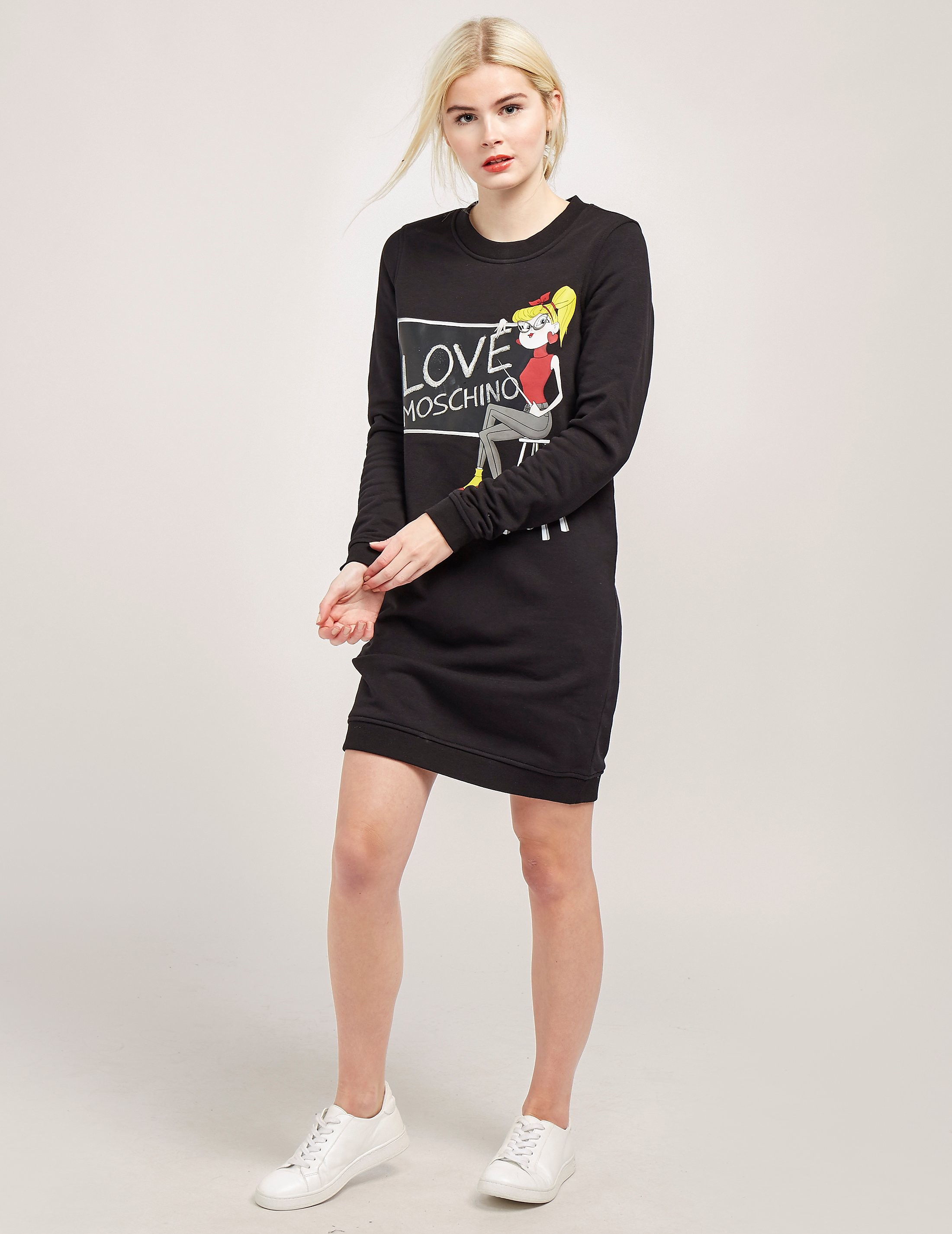 Love Moschino Long Sleeve Chalk Sweat Dress