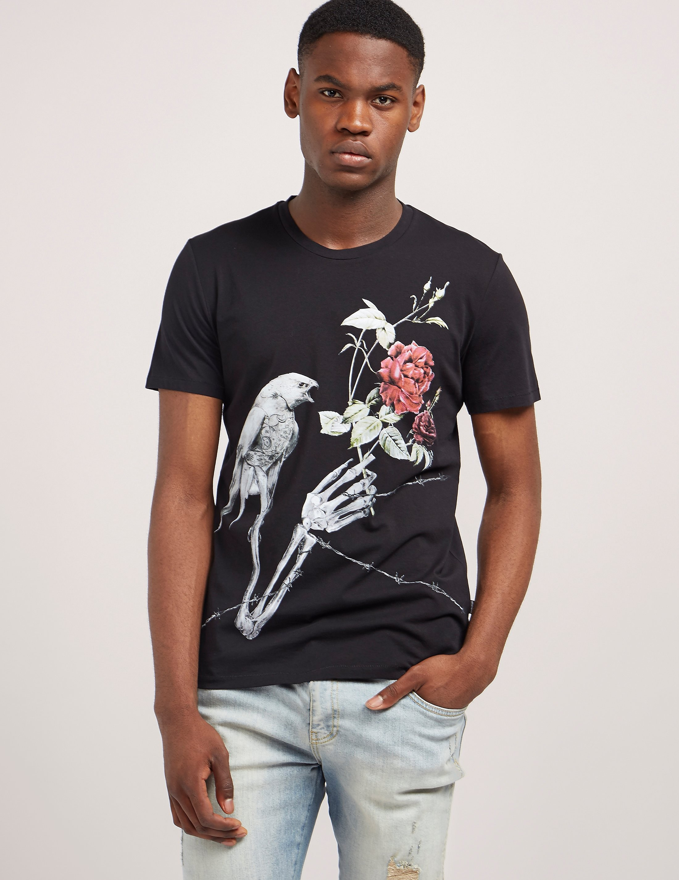Just Cavalli Rose Print Short Sleeve T-Shirt