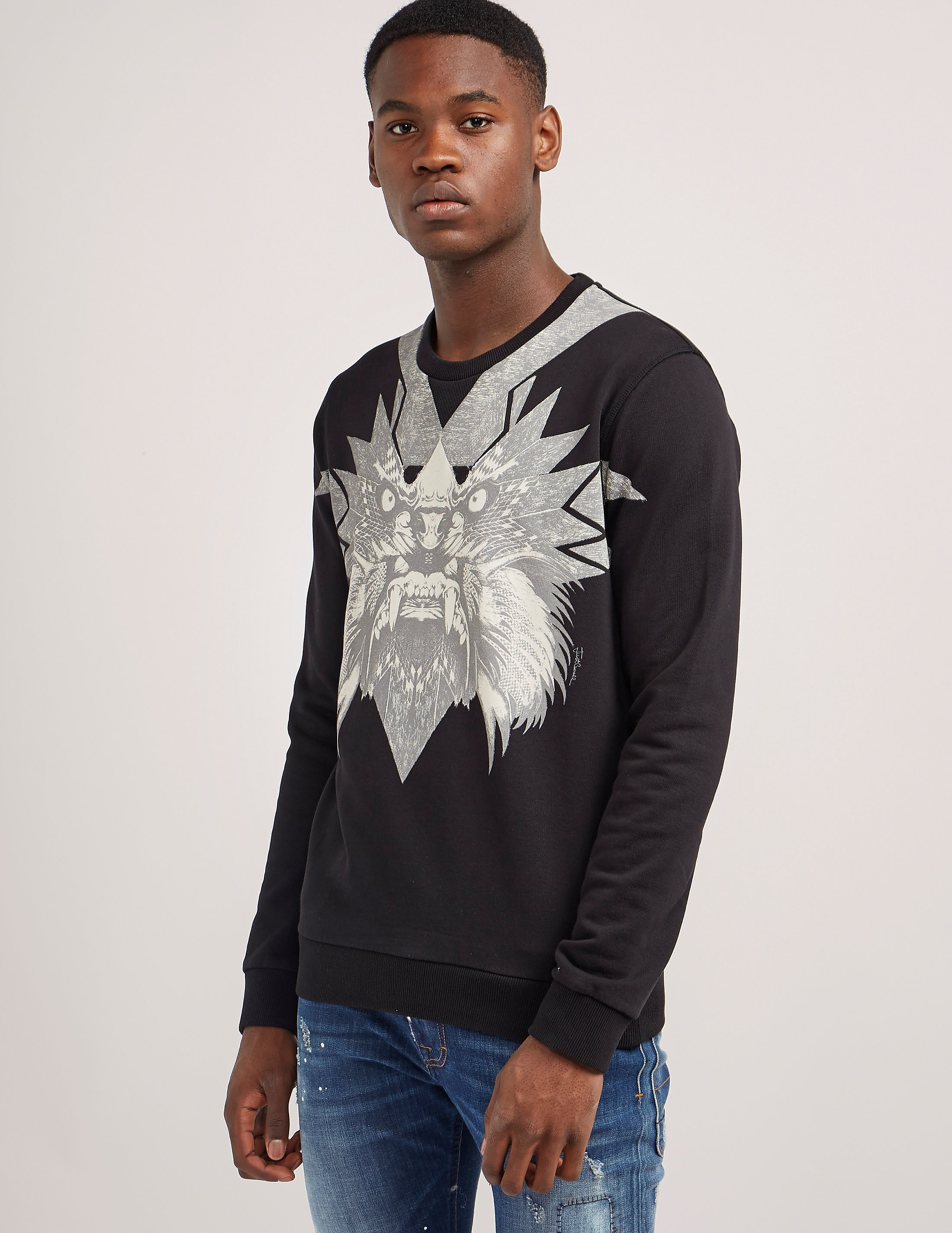 Just Cavalli Lion Star Print Crew Sweatshirt