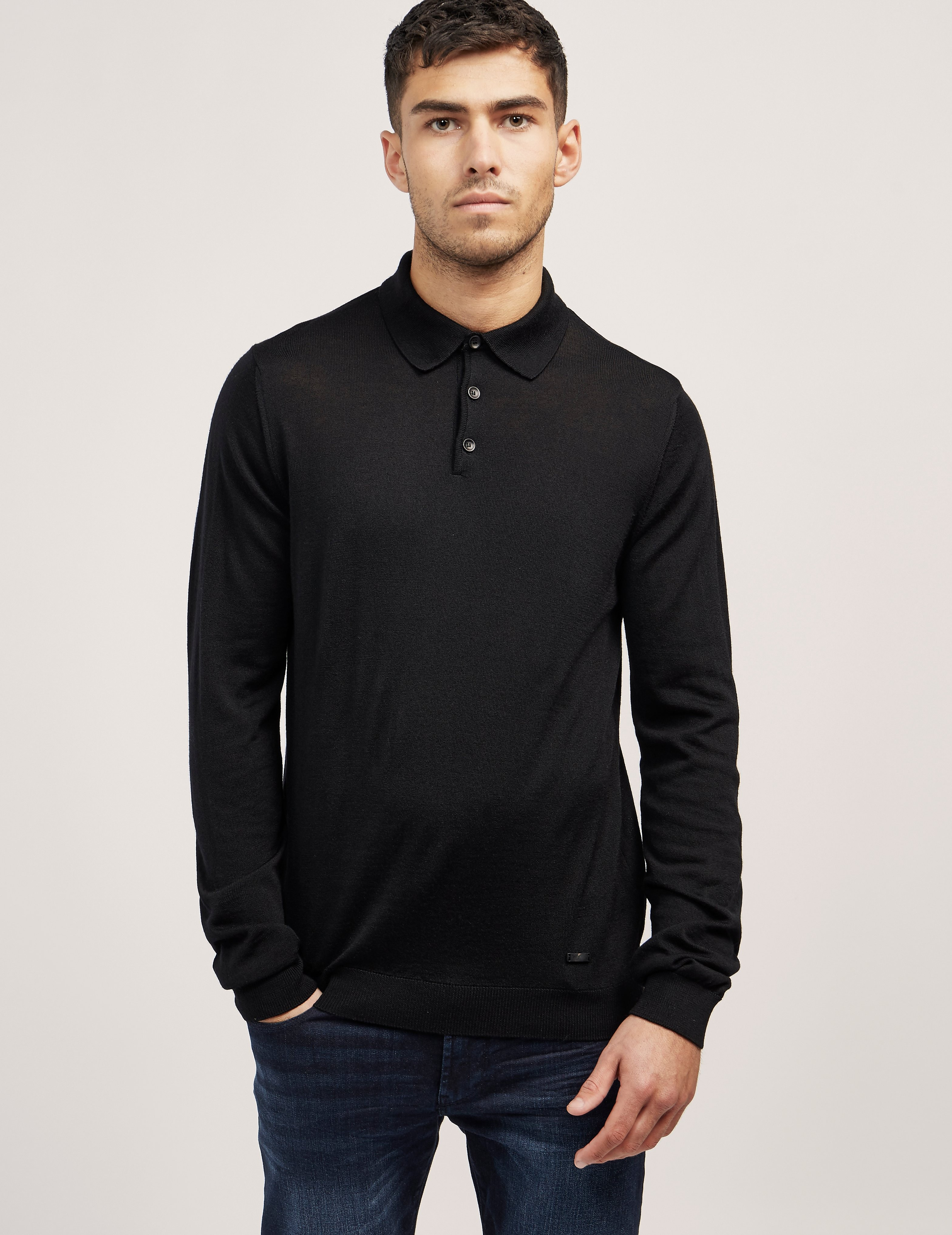 Armani Collezioni Wool Long Sleeve Polo Shirt