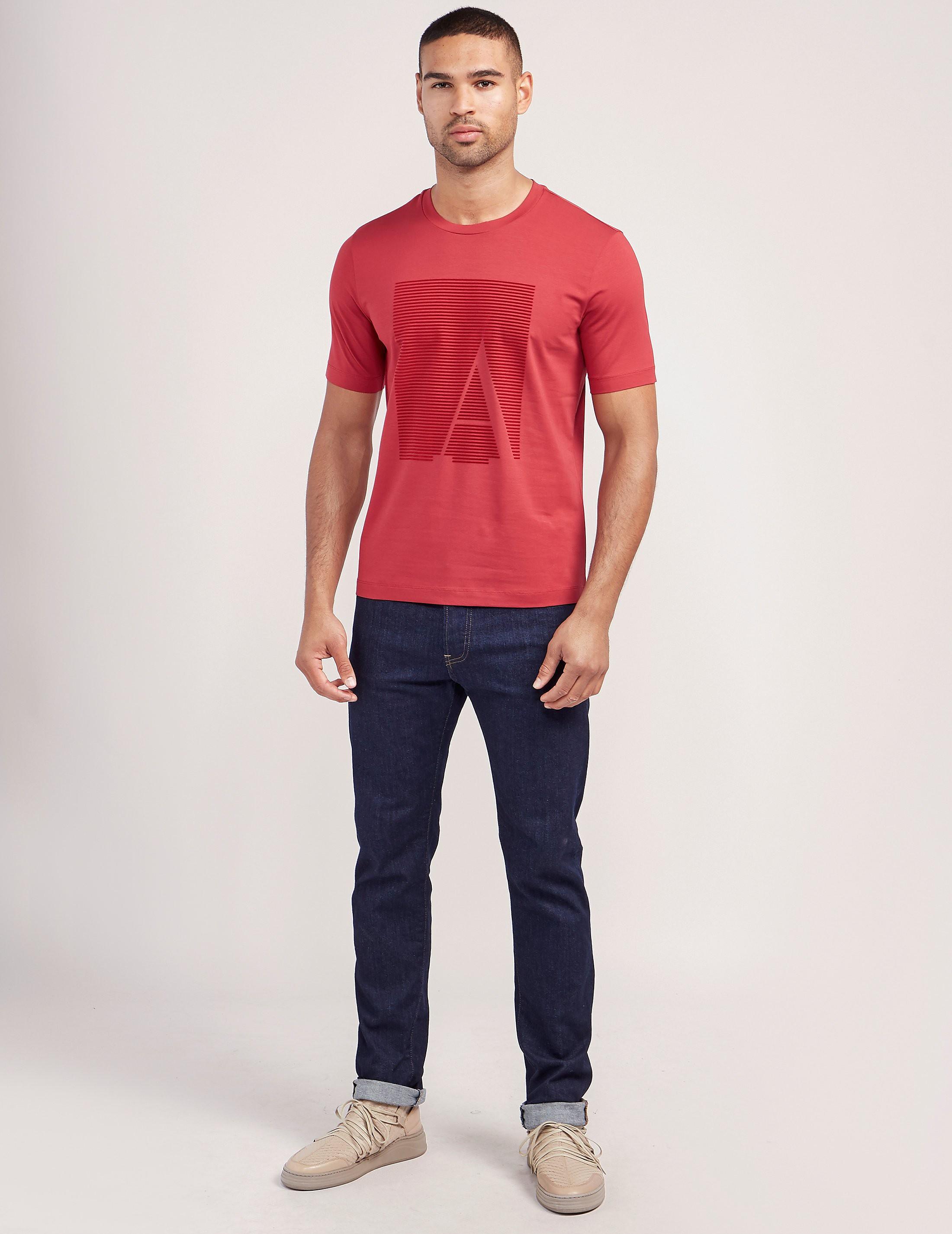 Armani Collezioni Flocked Logo Short Sleeve T-Shirt