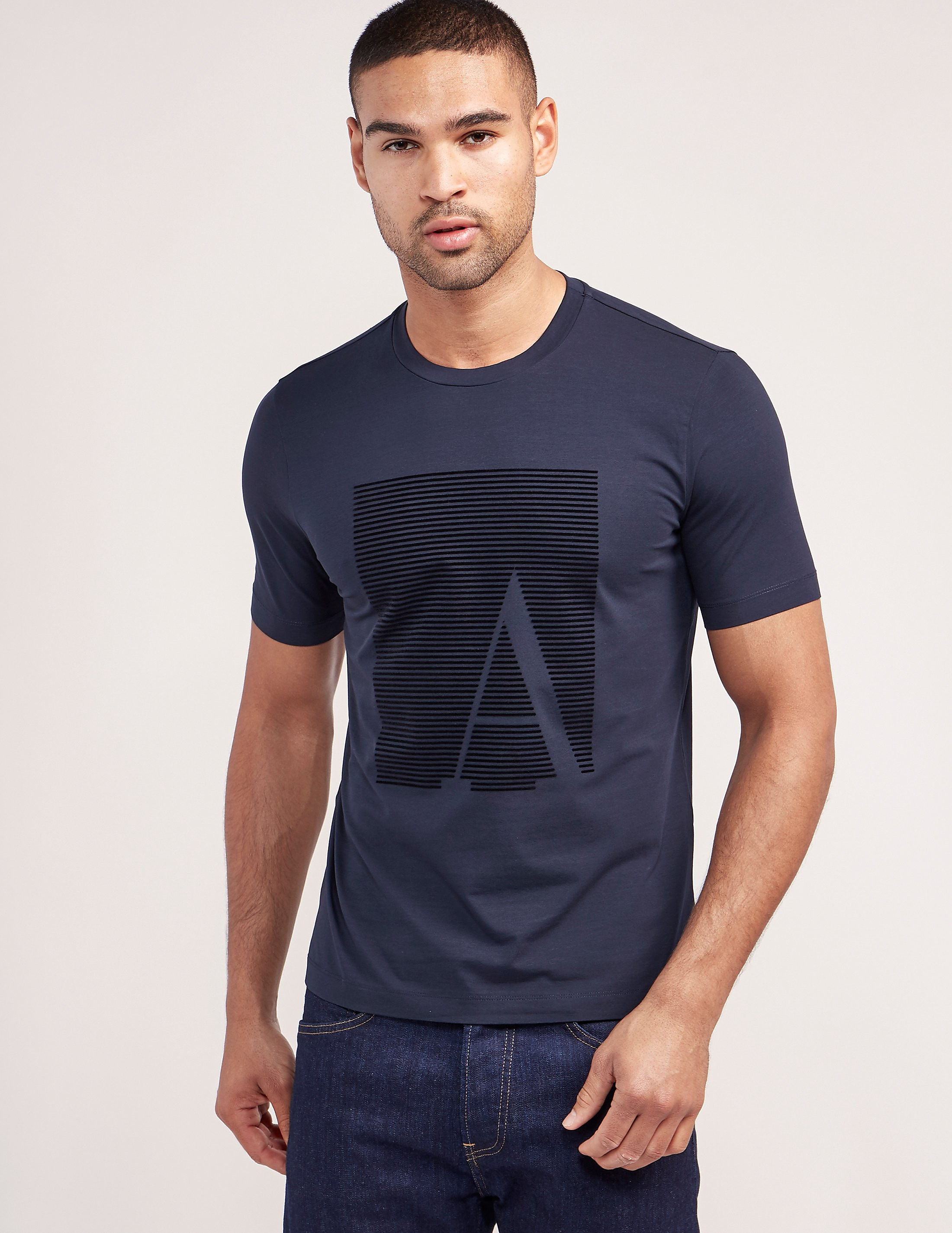 Armani Collezioni Flocked Logo Short Sleeve T-Shirt