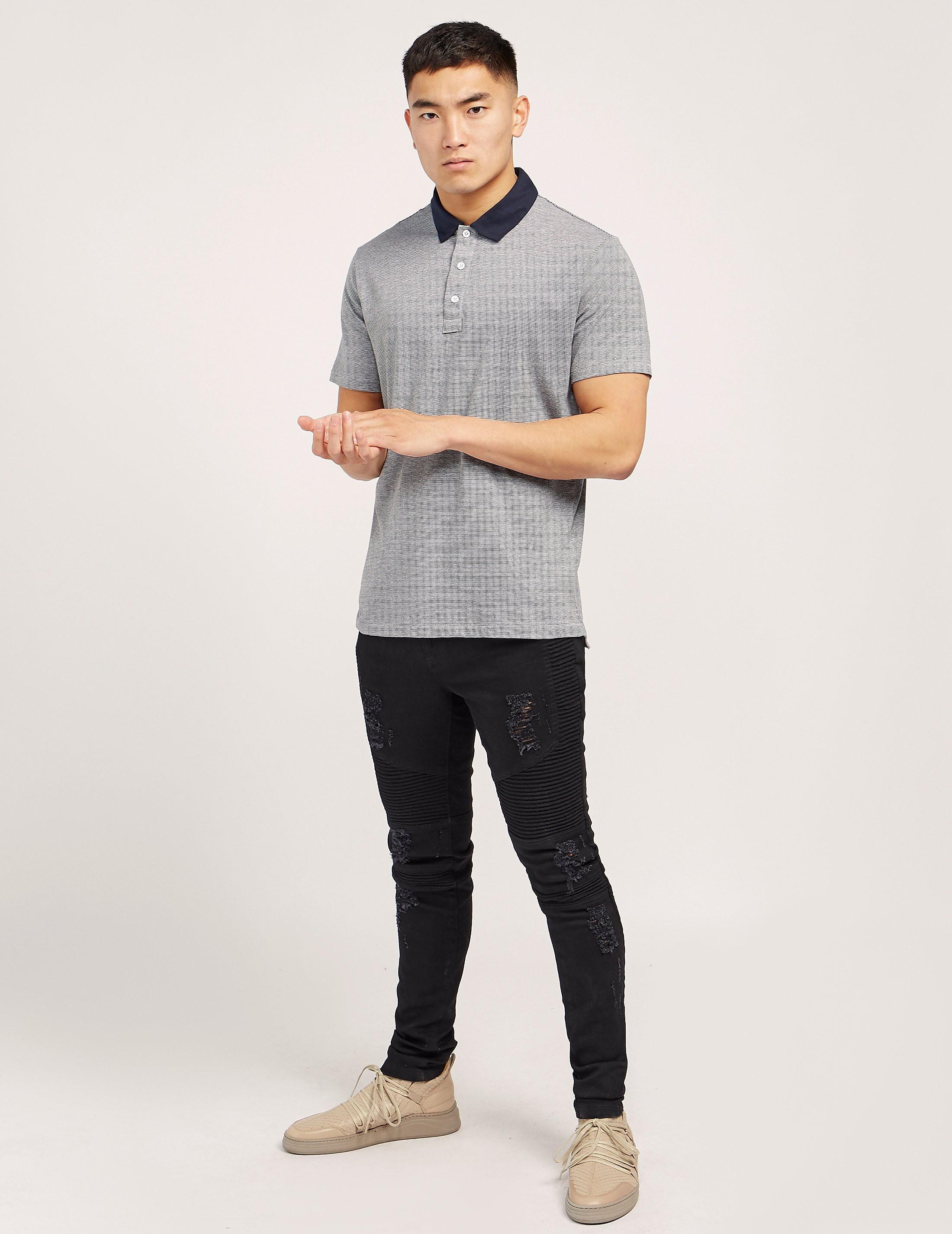 Rag & Bone Stripe Short Sleeve Polo Shirt